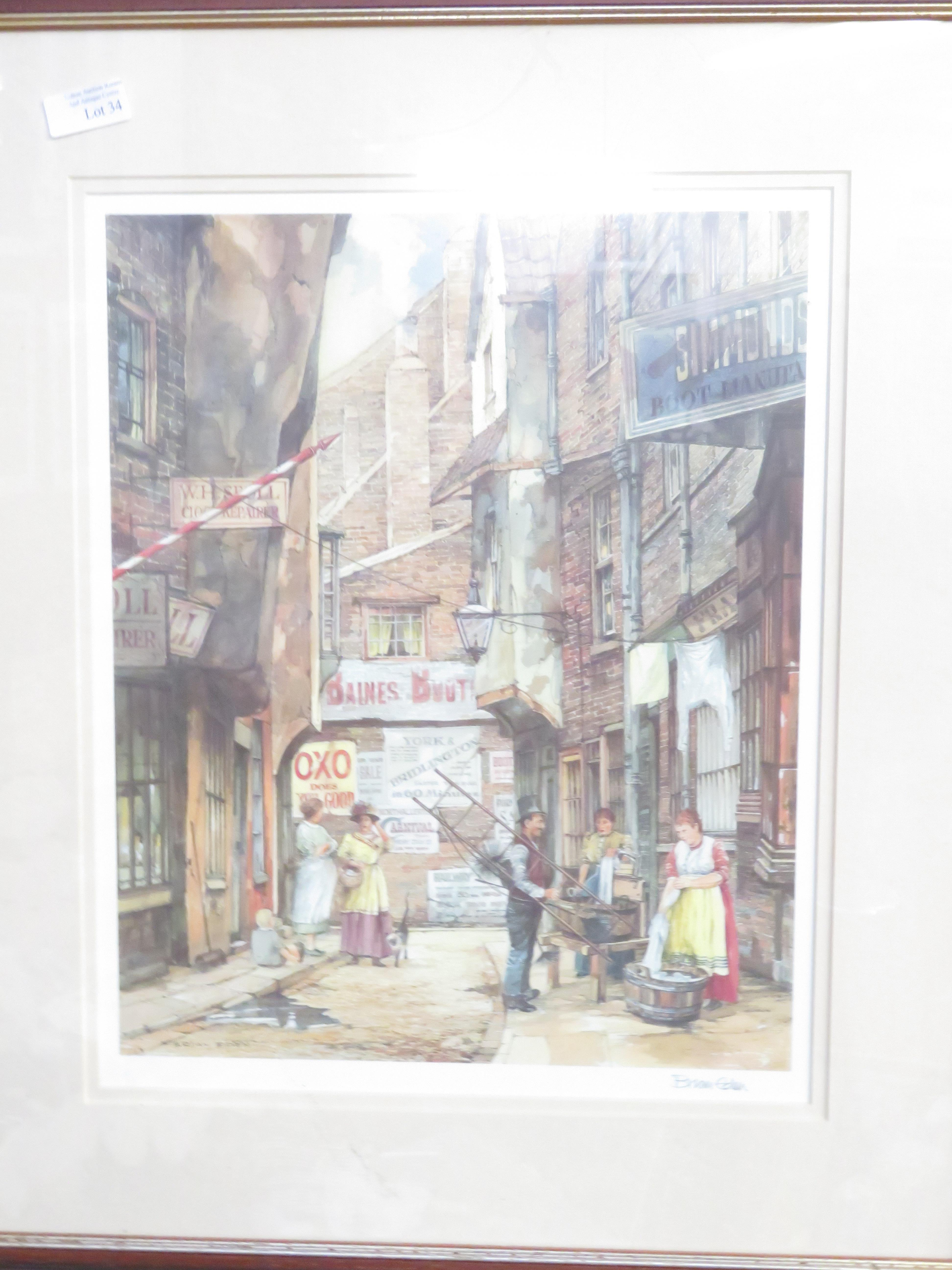 Lot 34 - Signed print by Brian Eden, with blind stamp
