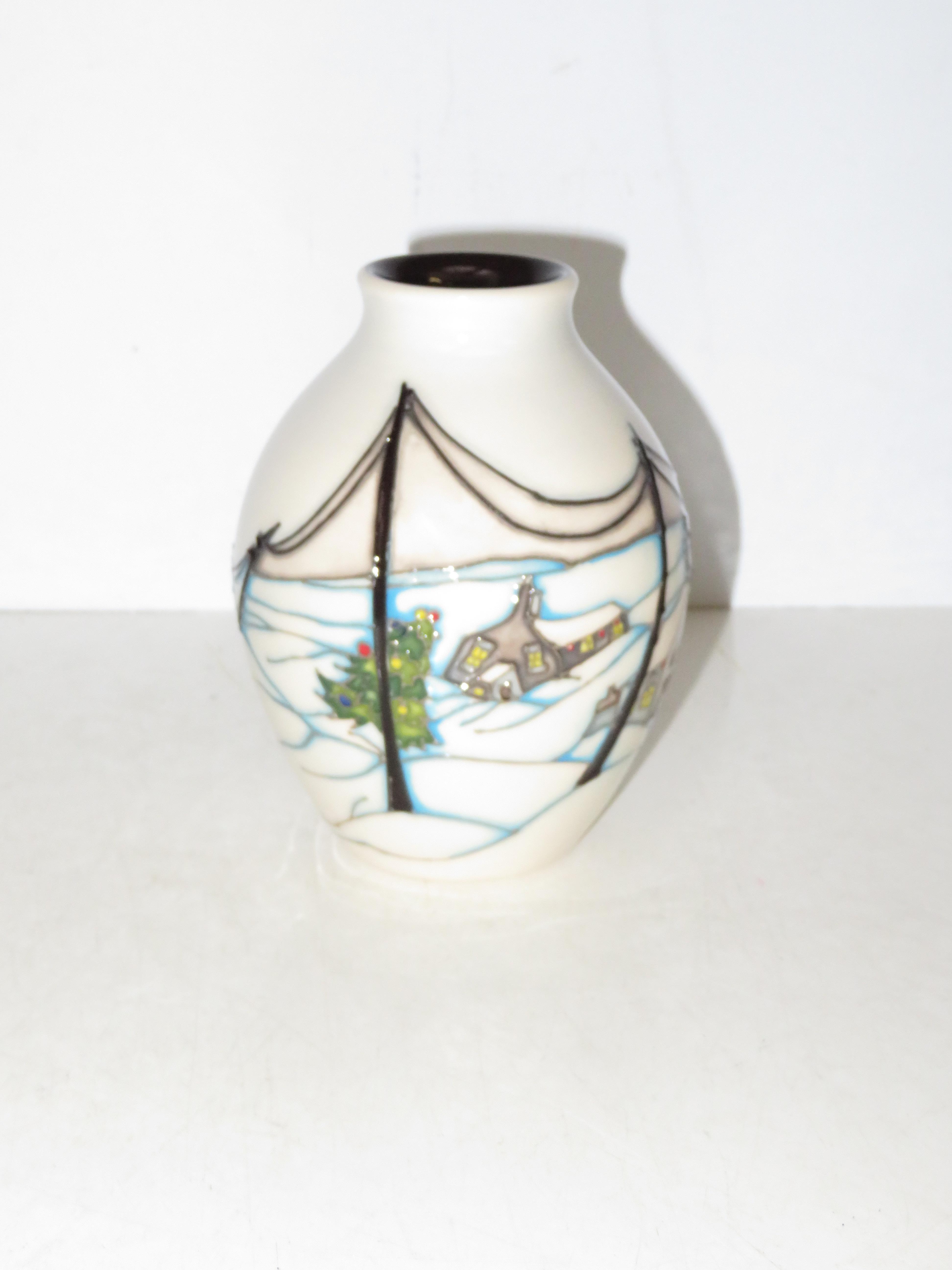 Lot 137 - Moorcroft home for Christmas vase. Height 14cm