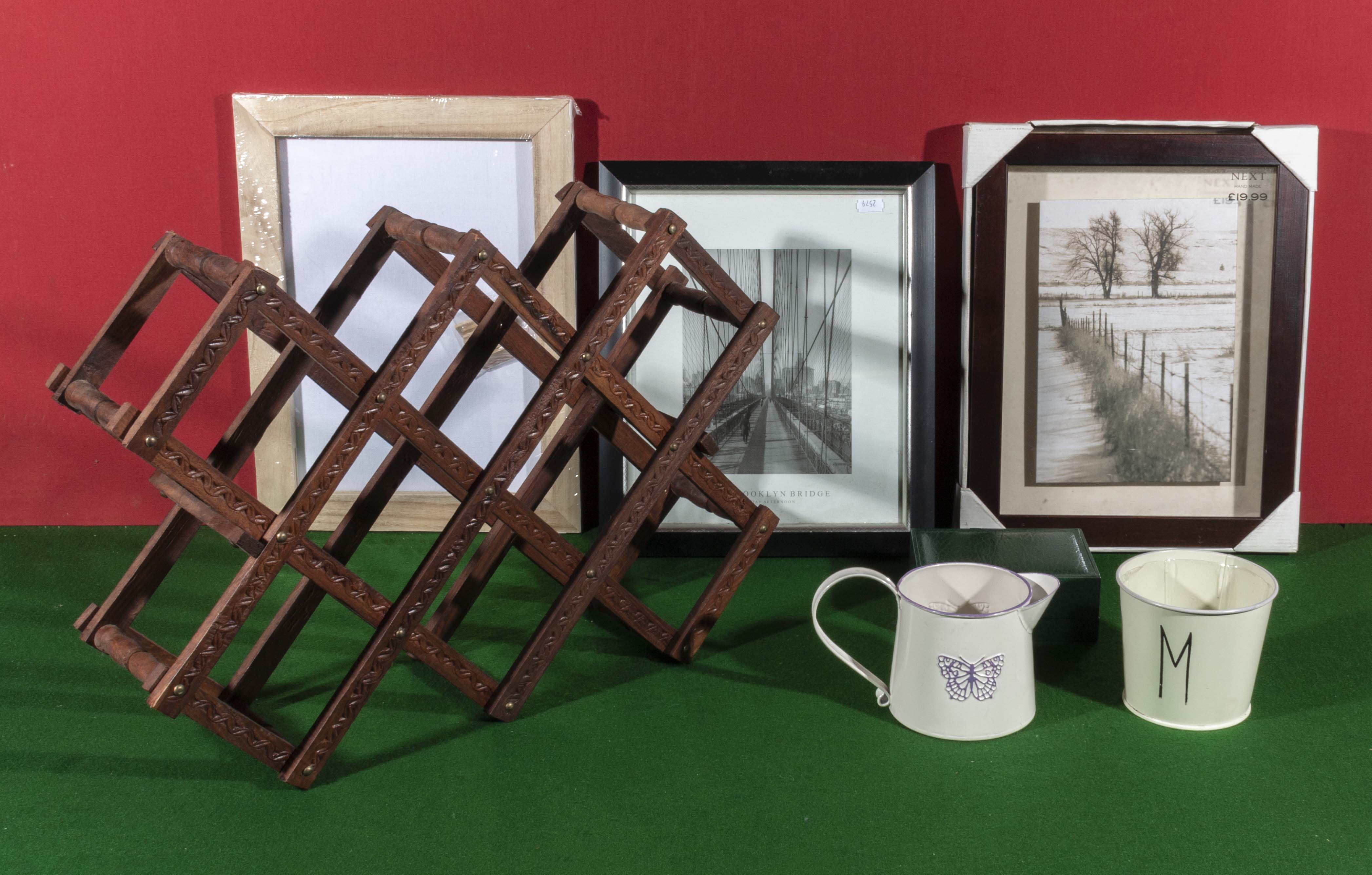 Lot 22 - A wine rack, three prints and two pieces of enamel ware