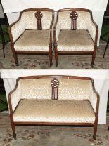 Lot 504 - An Edwardian 3 piece inlaid mahogany parlour suite.