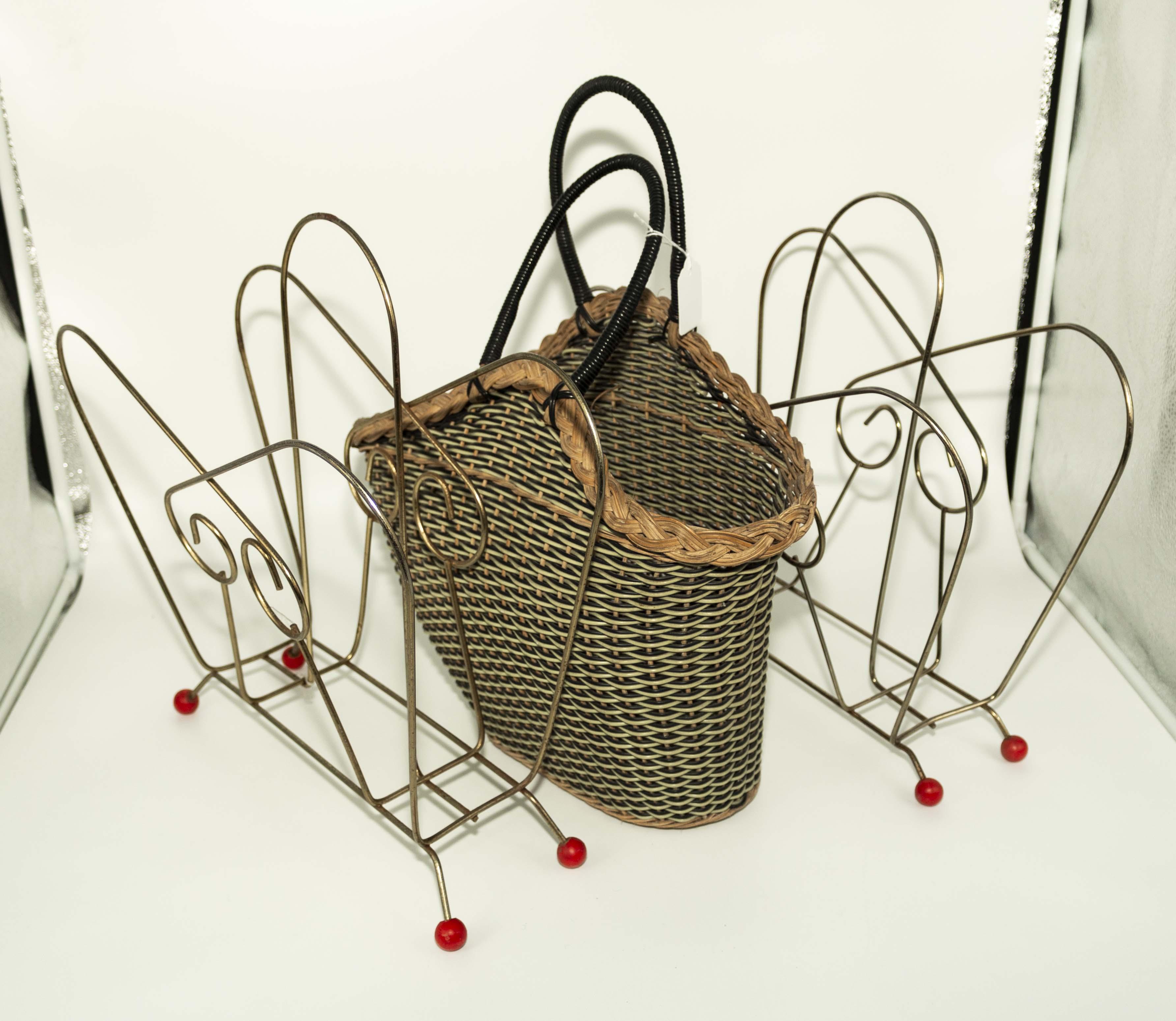 Lot 24 - Two vintage 1960's magazine racks and a basket