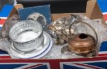 Lot 48 - A box containing metalware