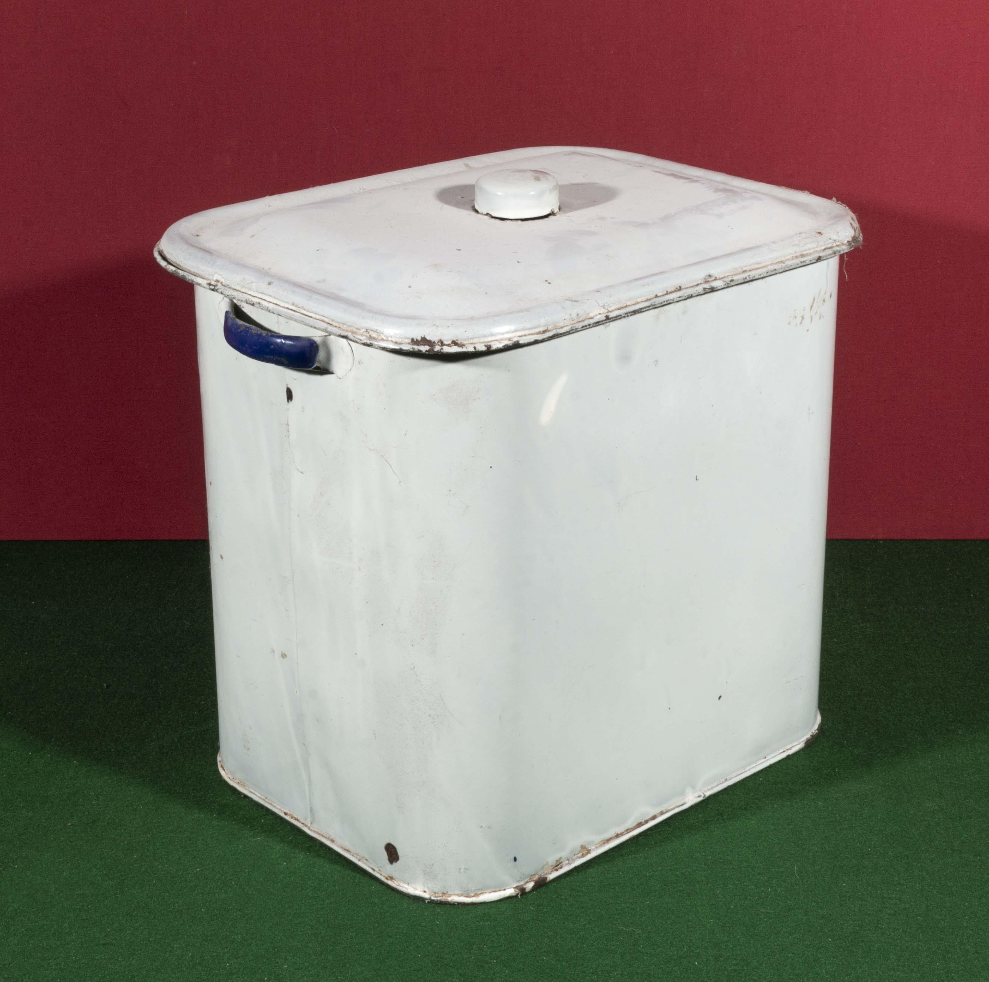 Lot 21 - An enamel bread bin