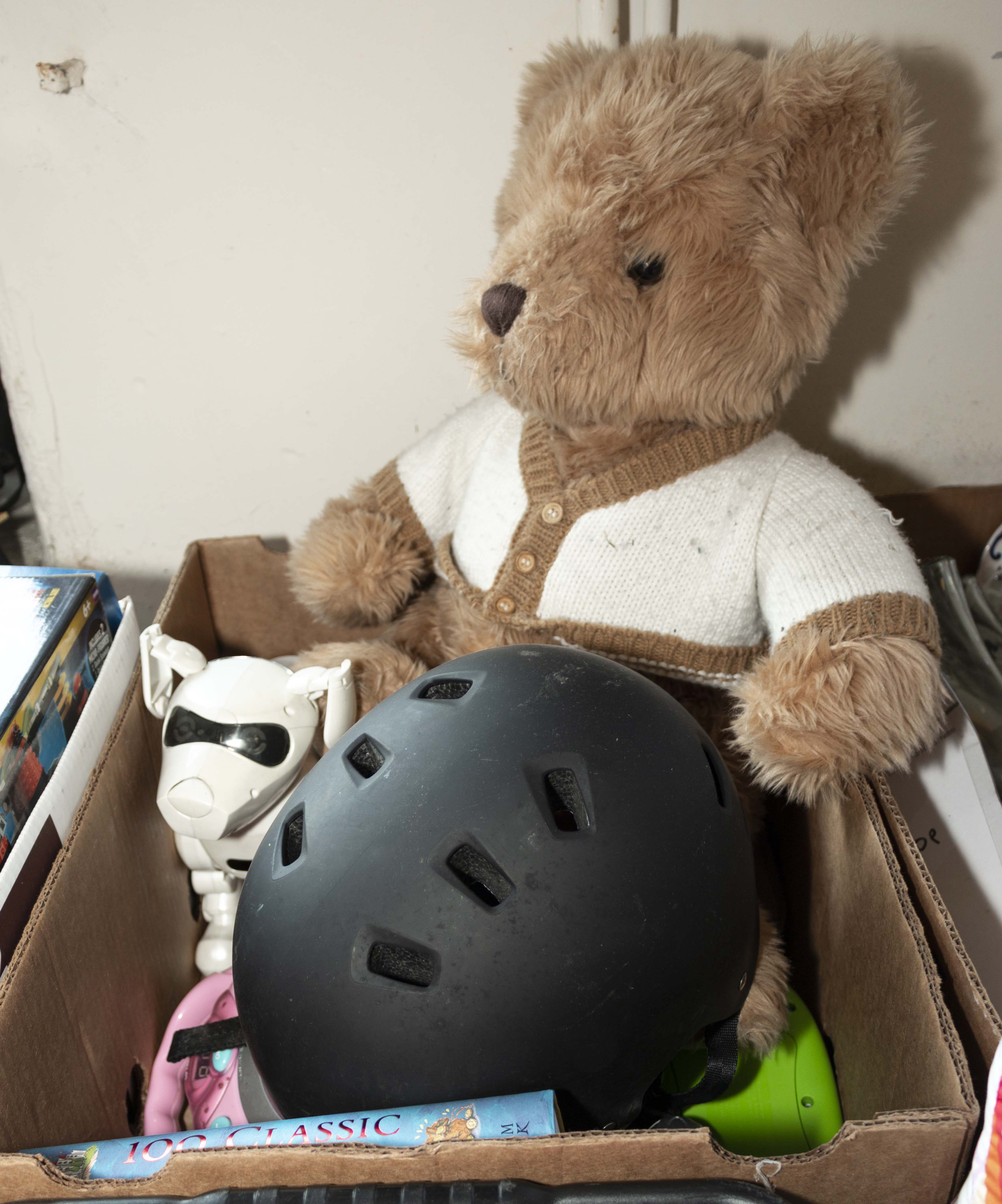 Lot 32 - A bike helmet, teddy bear and other toys