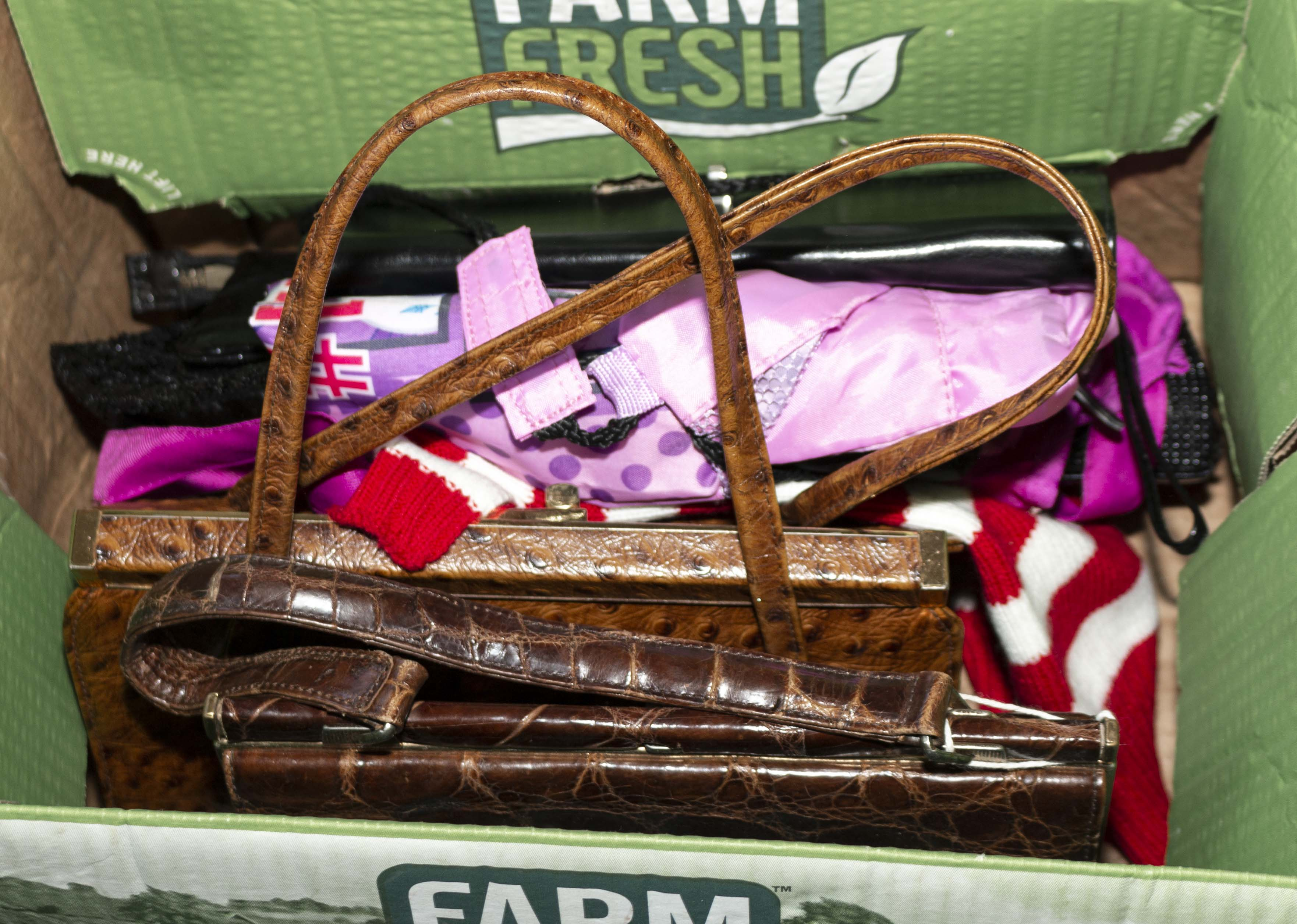 Lot 38 - Two vintage leather handbags and other items