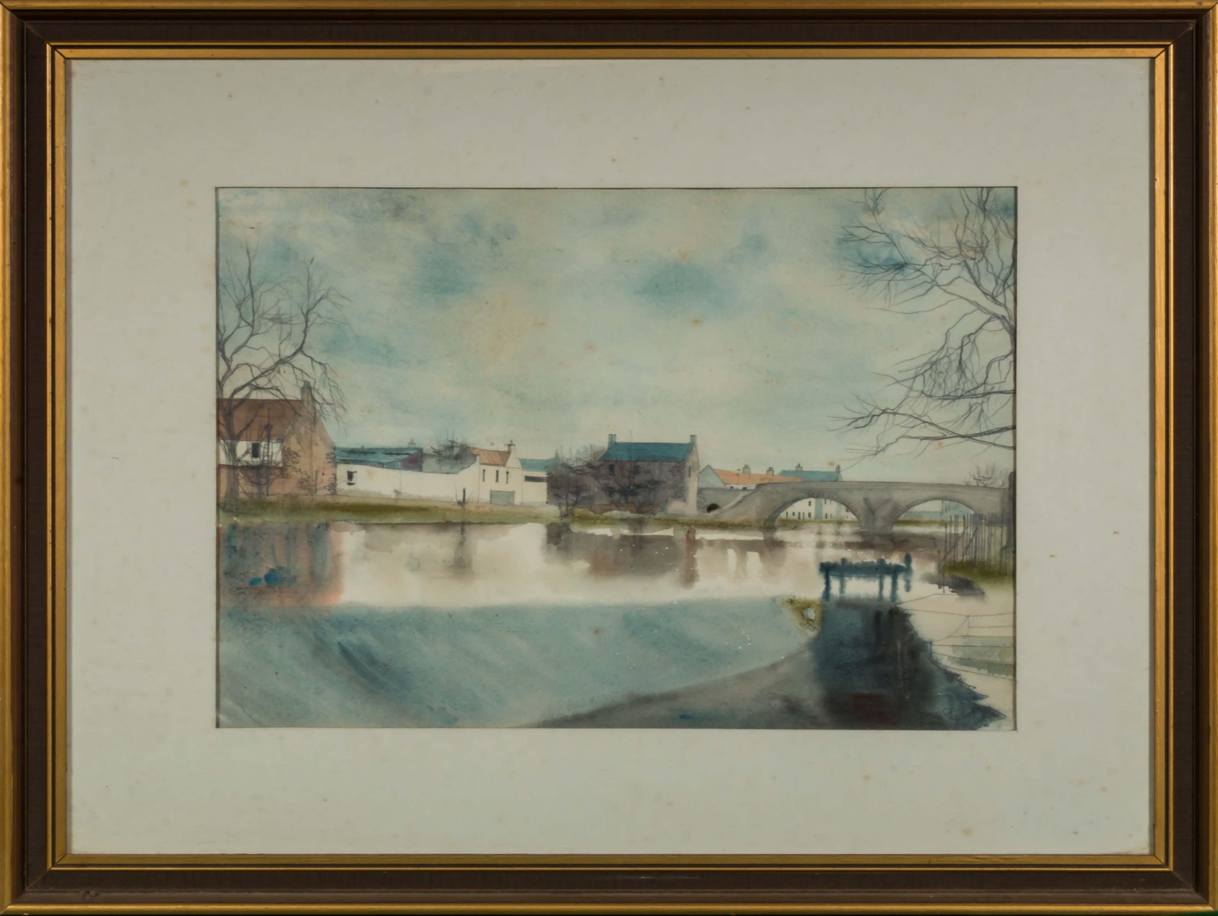 Lot 42 - A framed watercolour depicting a river scene, image size 32.5 cm x 43 cm