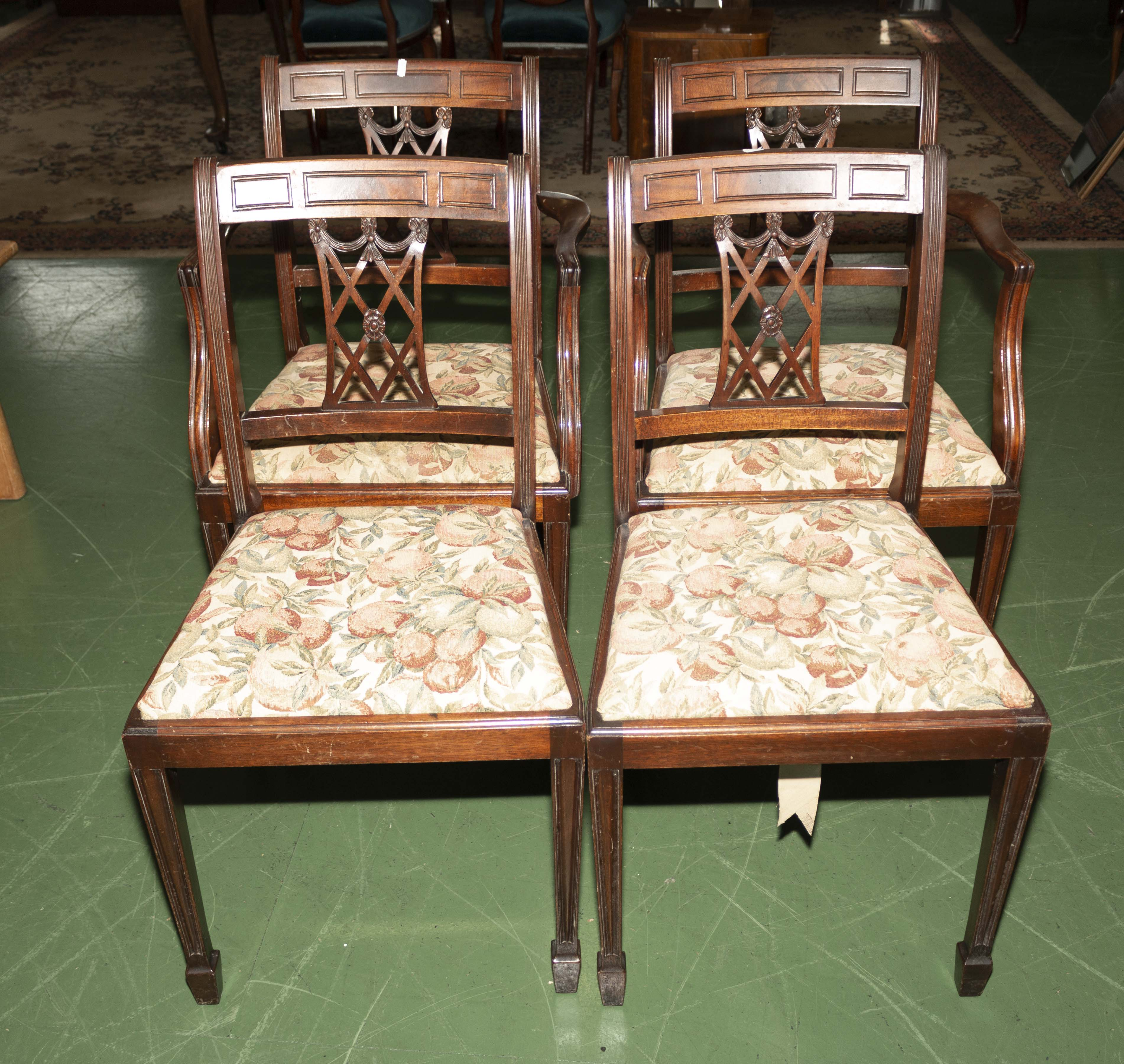 Lot 57 - Two dining chairs and two carvers