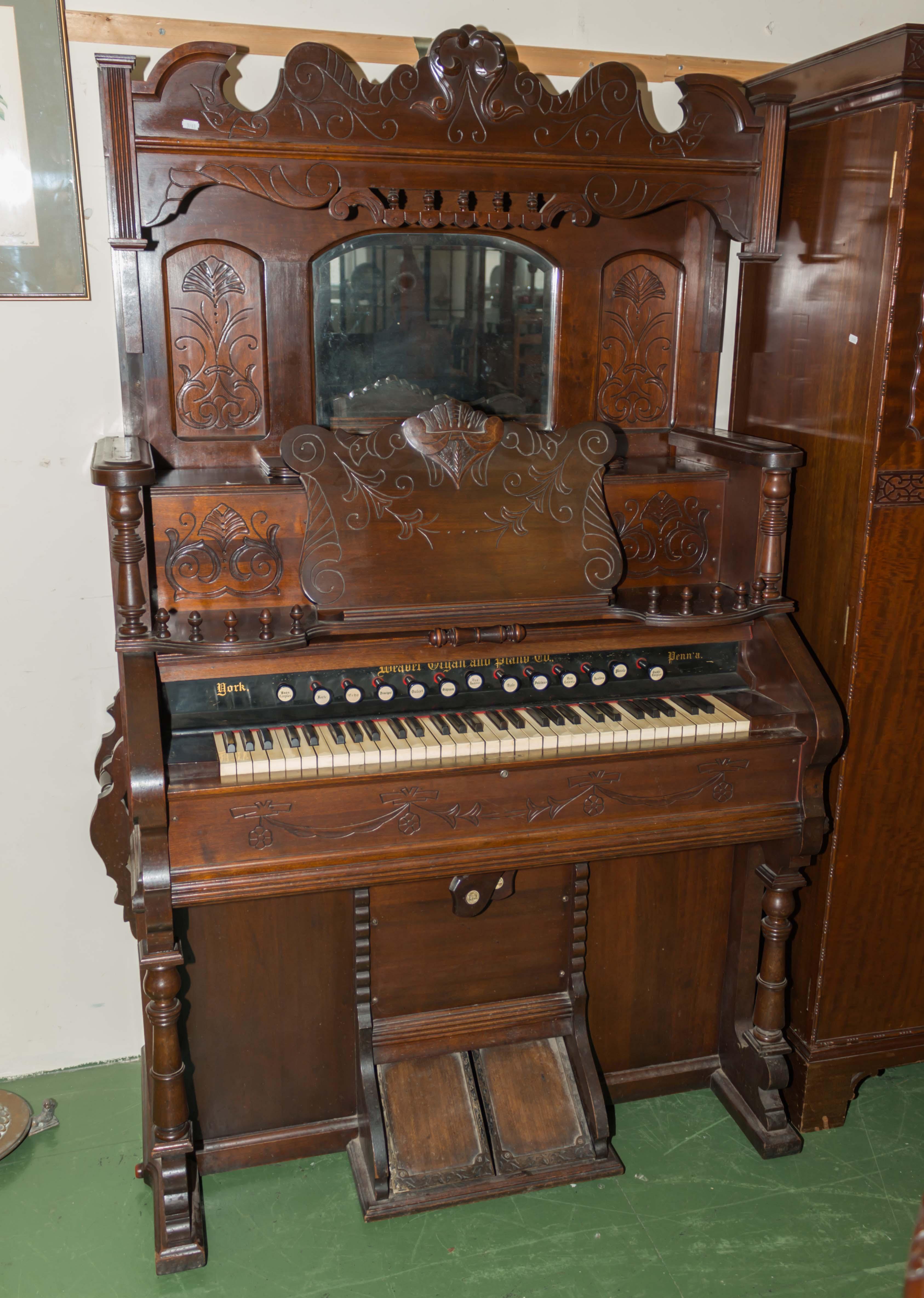 Lot 36 - An antique pump organ