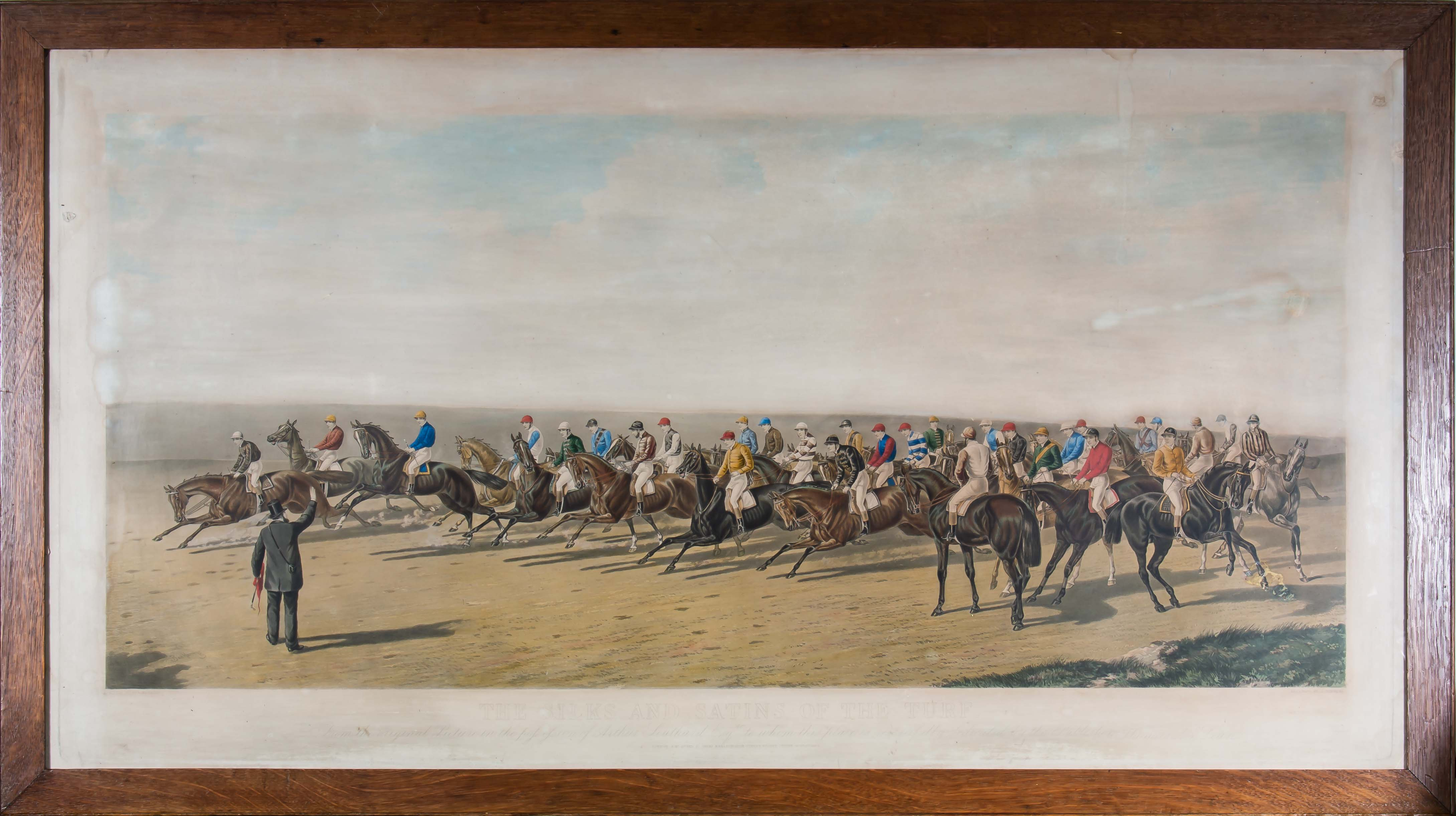 Lot 8 - A large framed engraving entitled 'The Silks and Satins of the Turf' original painting by Ben
