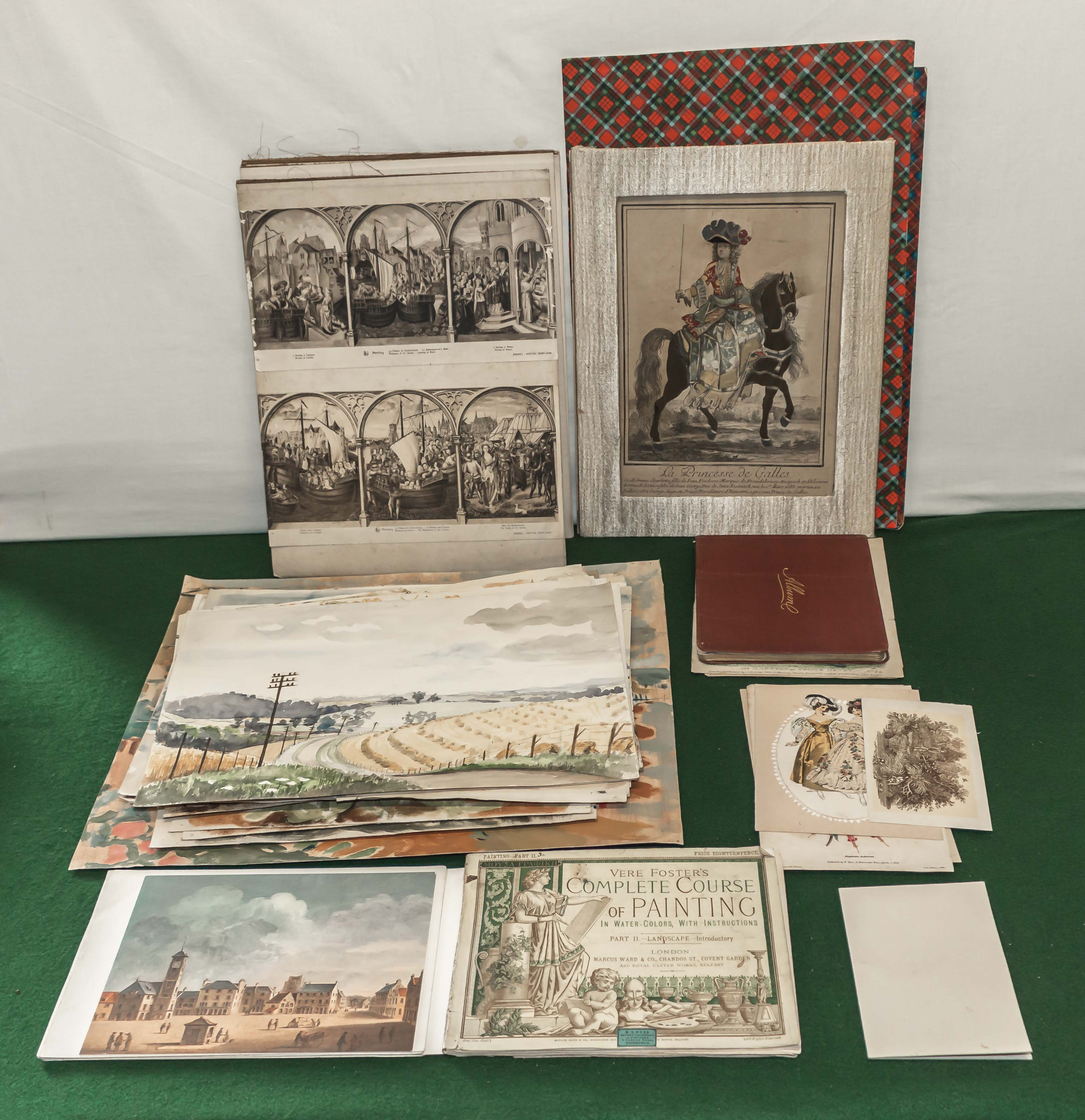 Lot 53 - A collection of unframed prints and watercolours