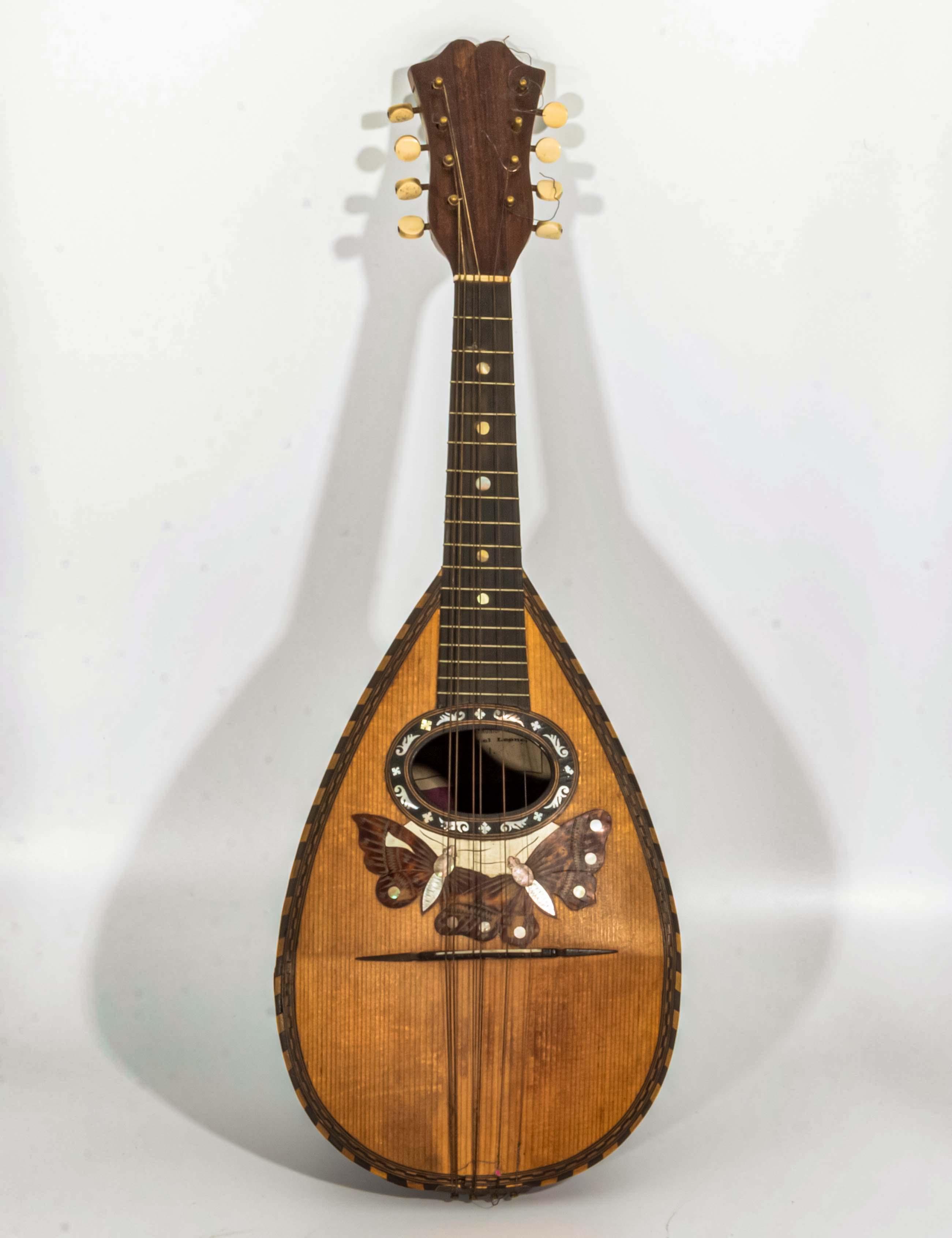 Lot 52 - A late Victorian Italian inlaid Mandolin, labelled F. De Mureda Fabricante Strumenti Armonici 27