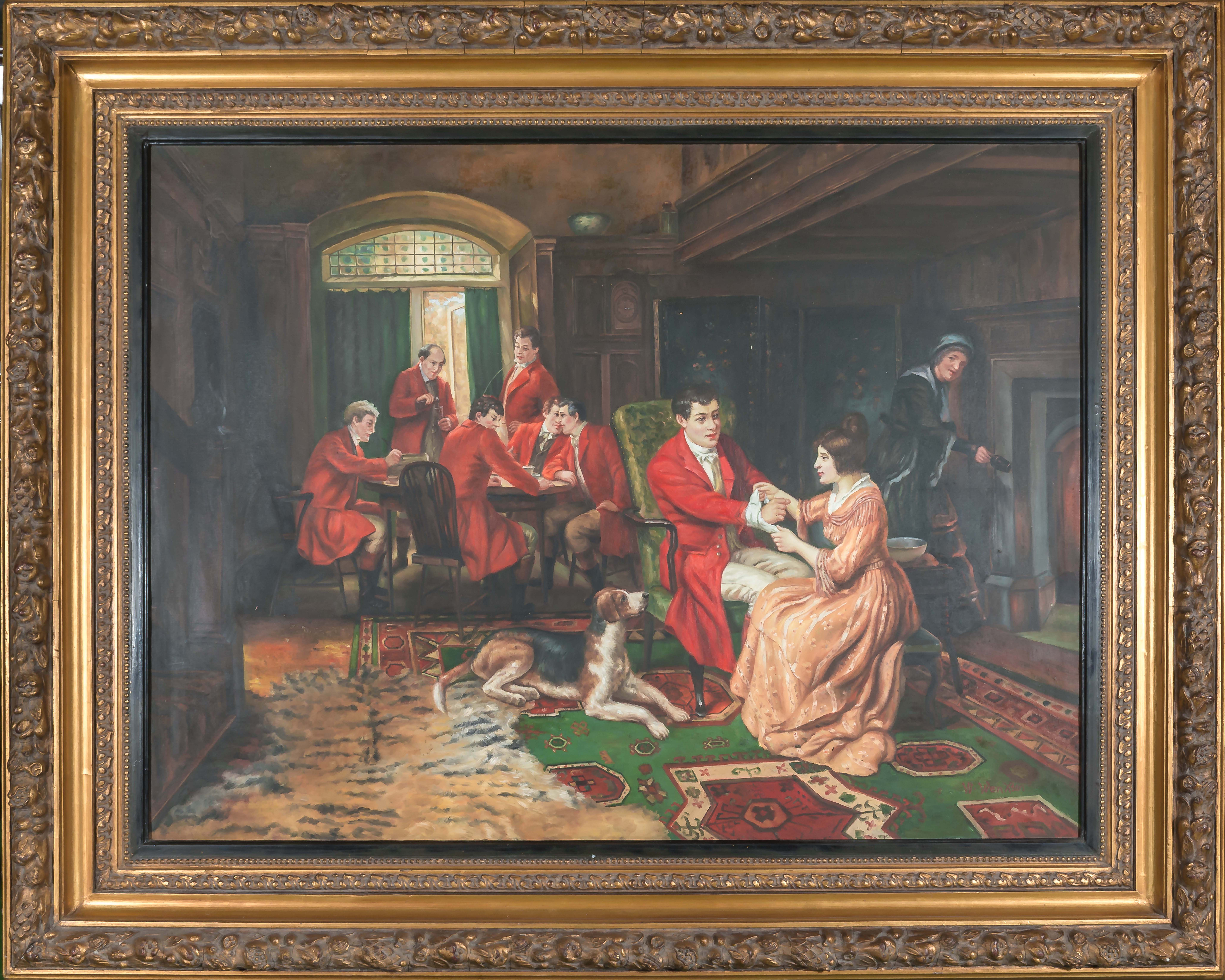 Lot 54 - A large gilt framed oleograph on canvas. Overall size 1.2m x 1.6m