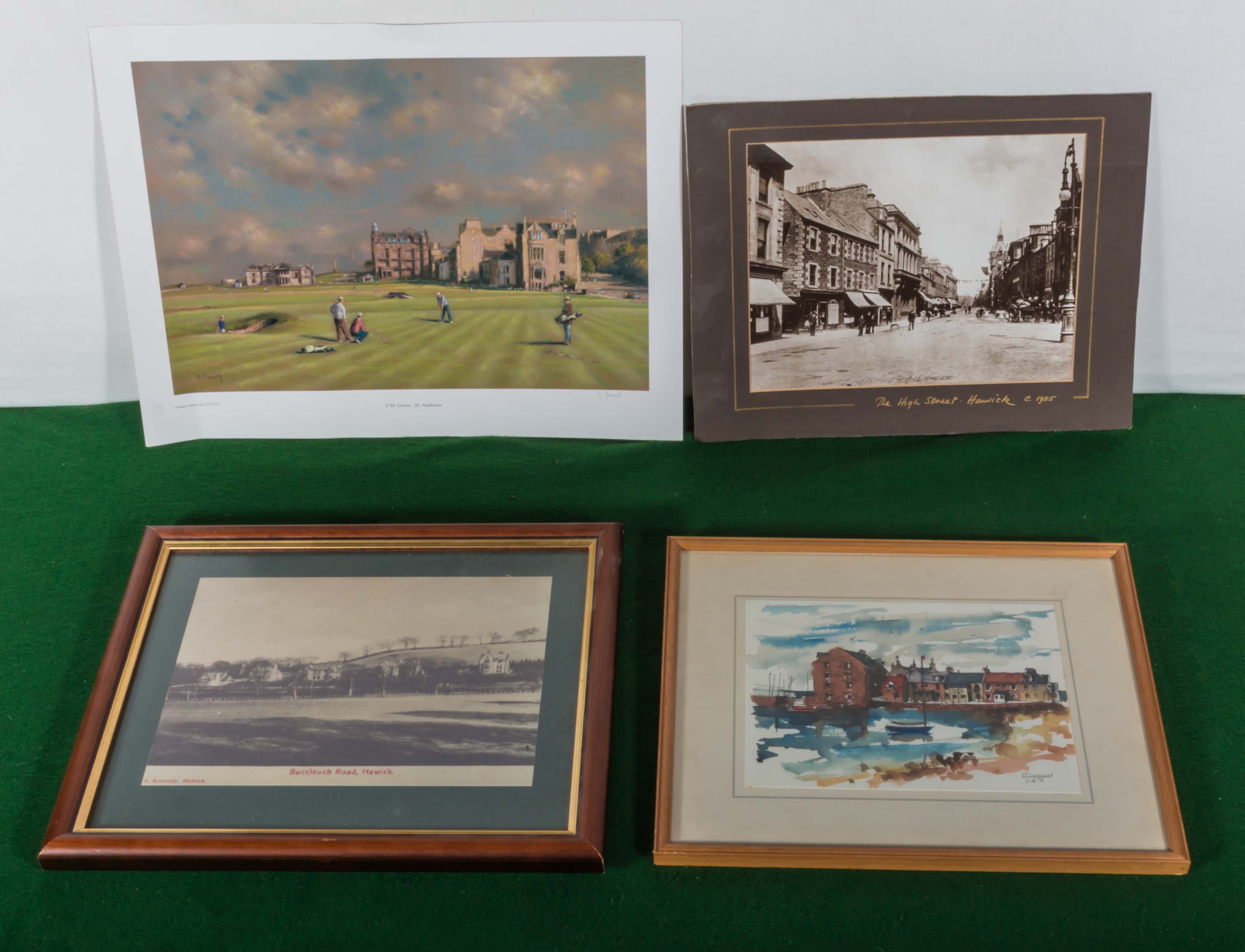 Lot 26 - A photograph of old Hawick, two prints and a watercolour of North Berwick