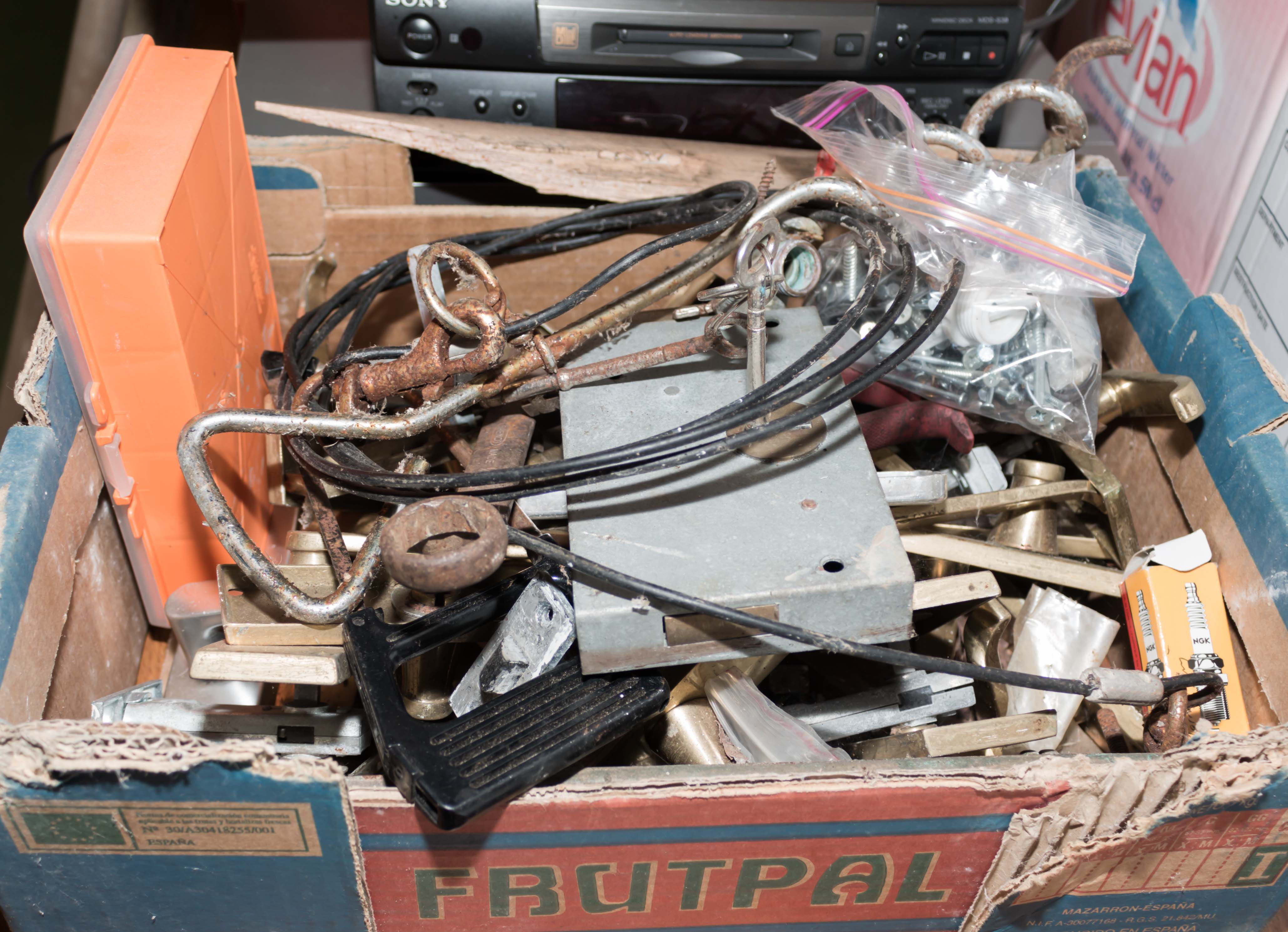 Lot 47 - A box containing locks, screws and other items