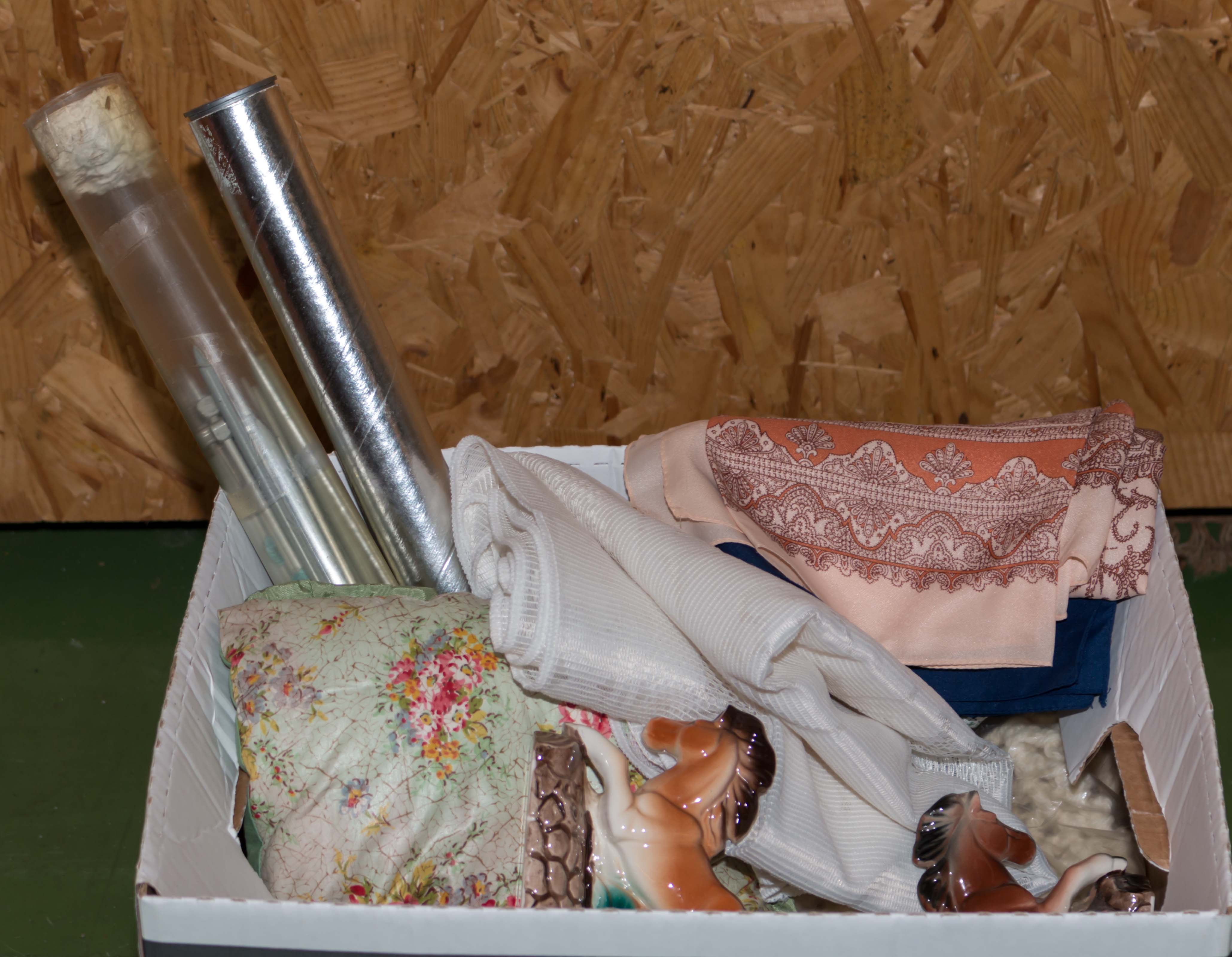 Lot 48 - A box containing fabric and scarves