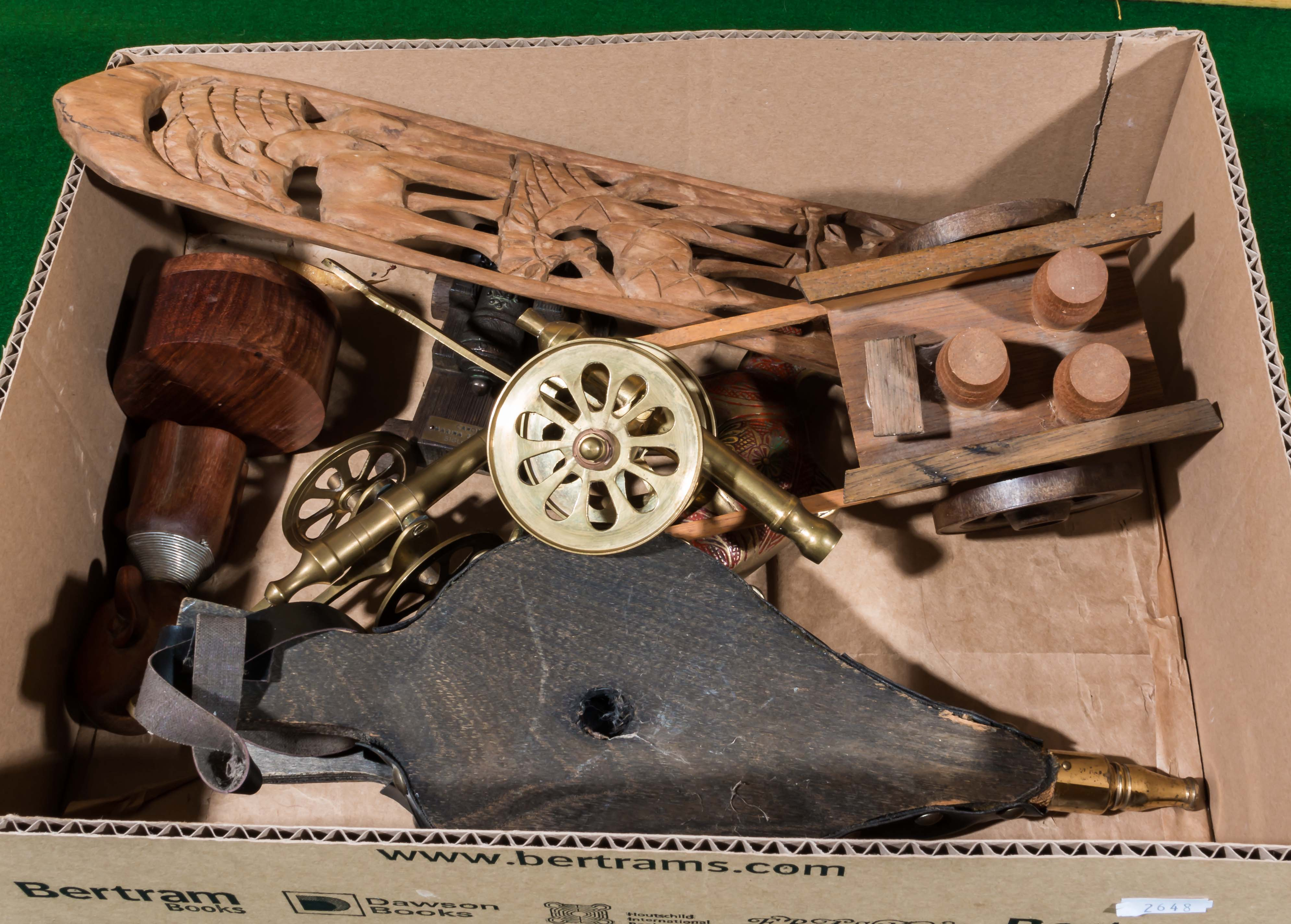 Lot 25 - A box containing wooden items