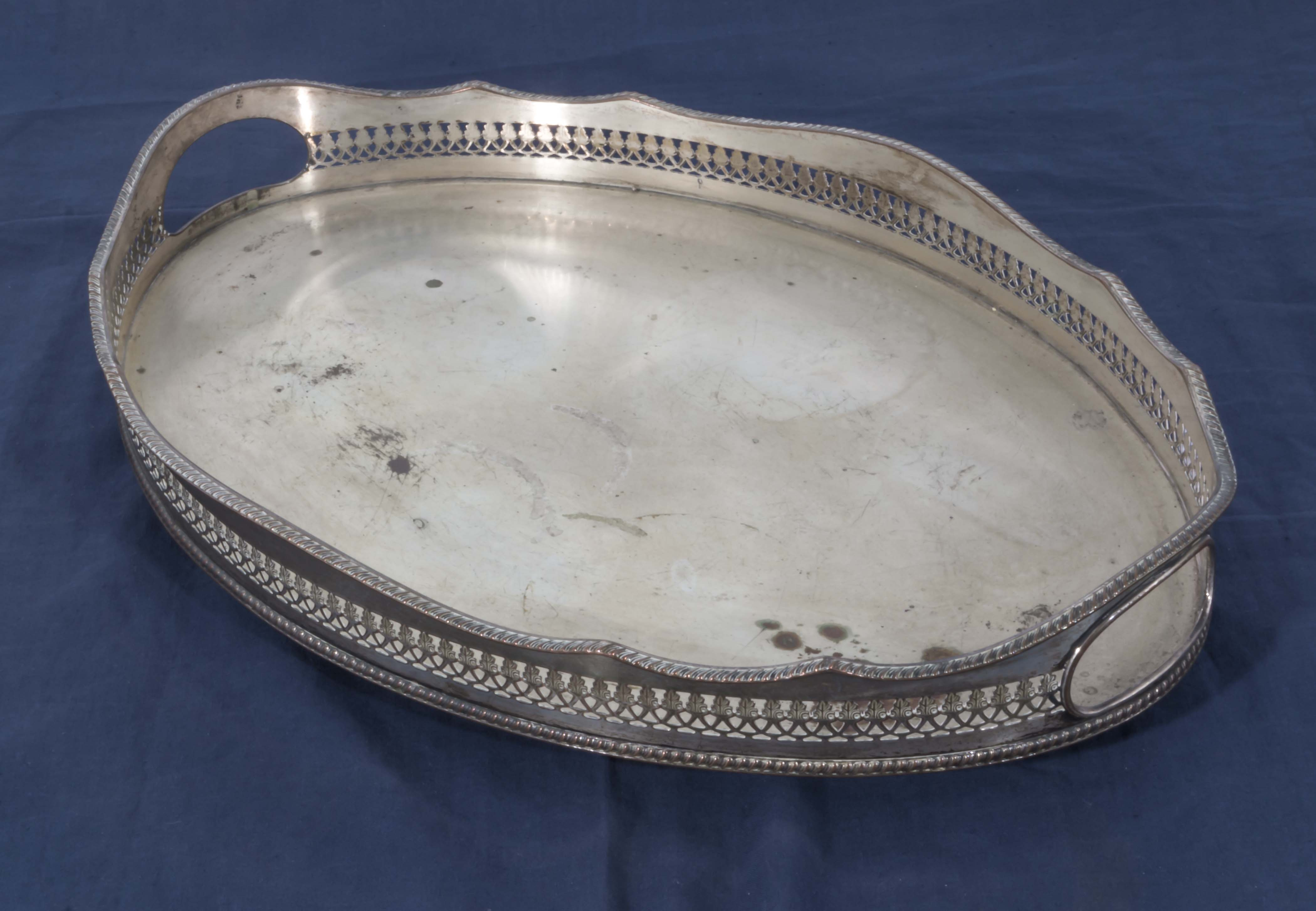 Lot 12 - A silver plated tray