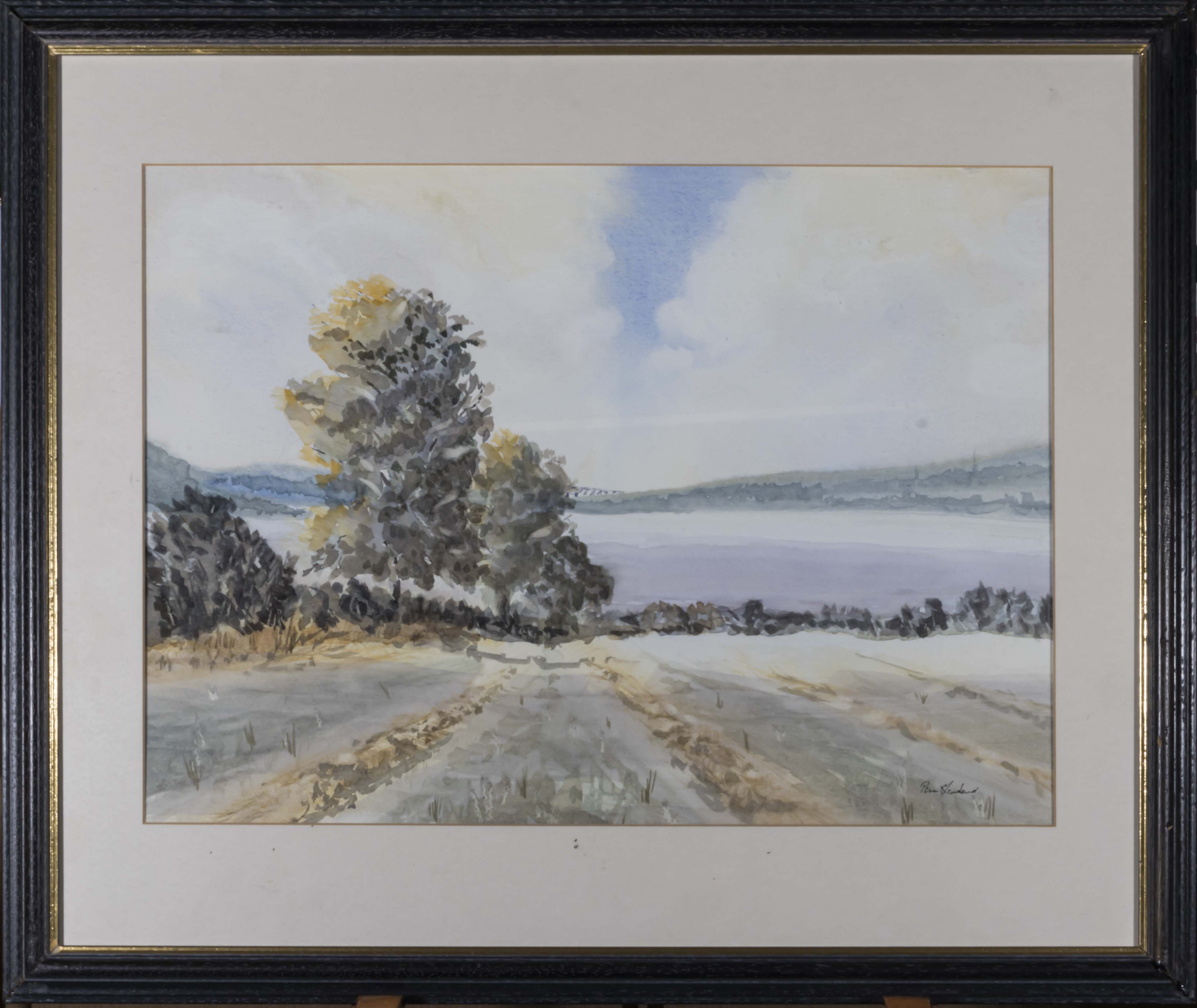 Lot 42 - A framed watercolour depicting a rural scene, signed Pam Townsend