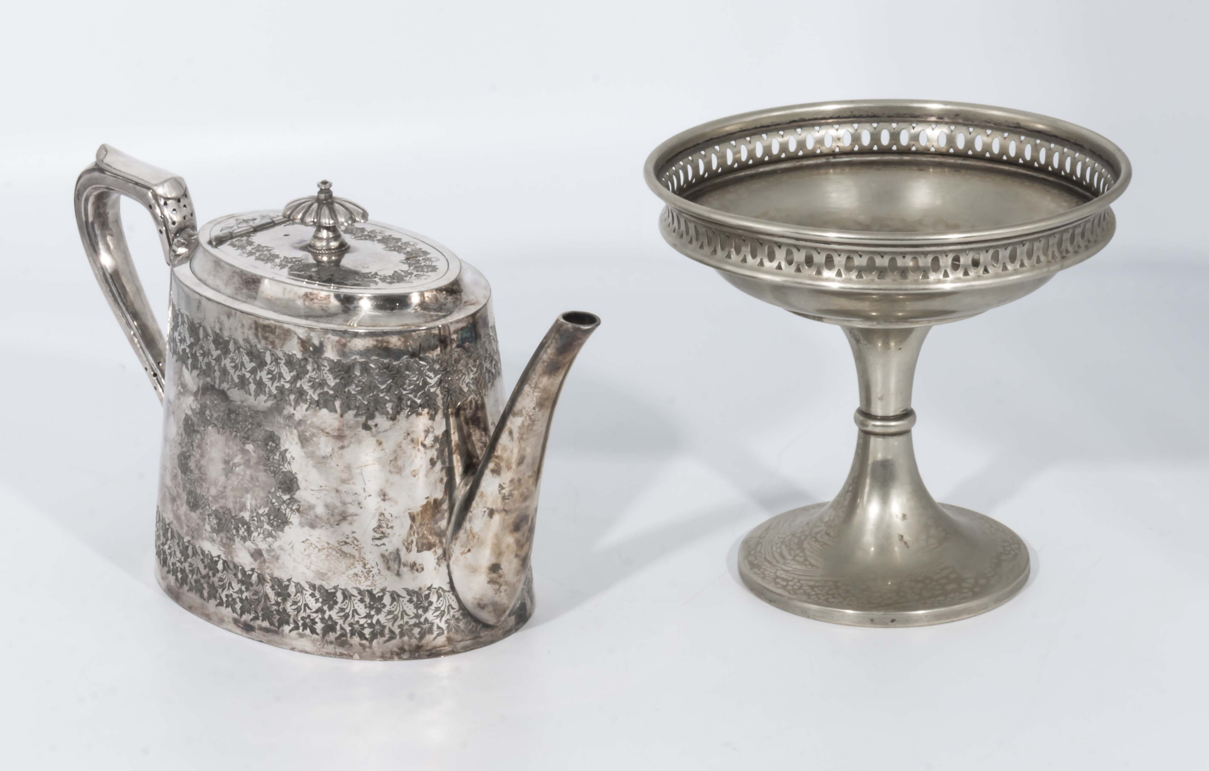 Lot 9 - A silver plated teapot and comport