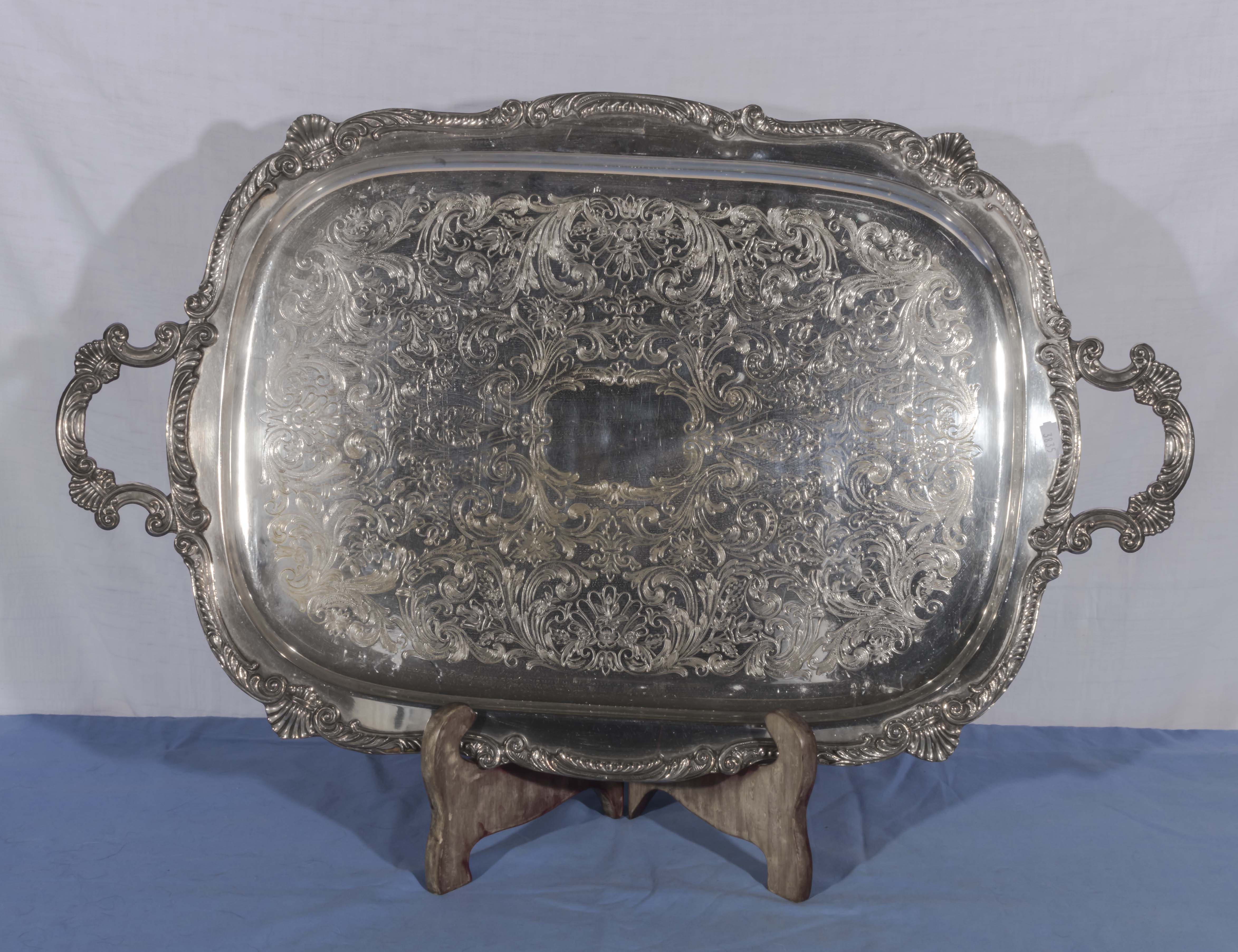 Lot 2 - A large silver plated tray