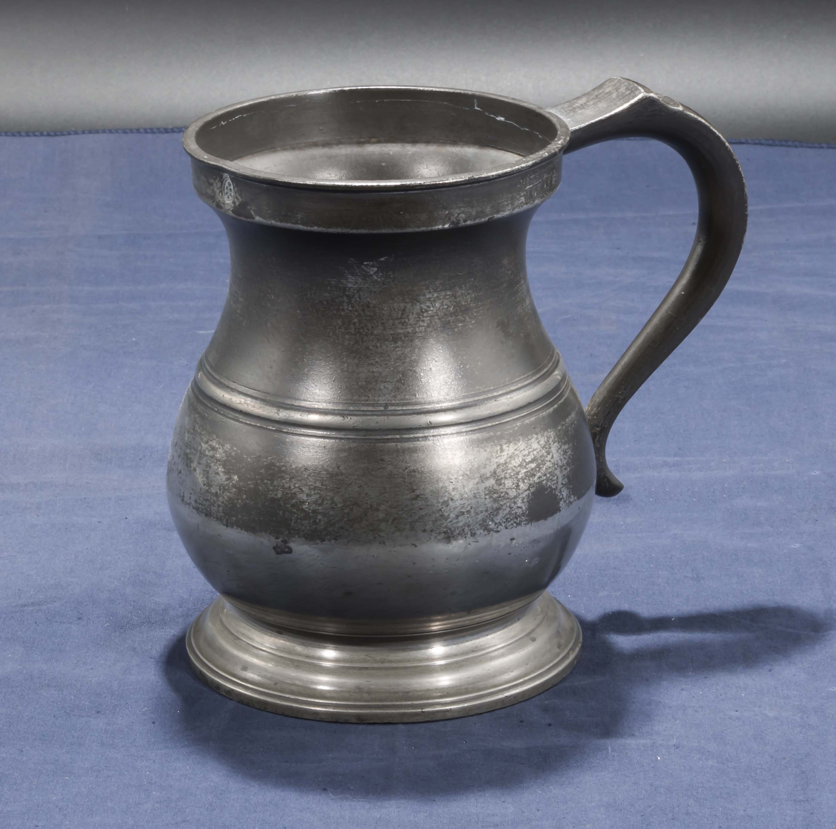Lot 26 - Old Pewter quart measure tankard, Government stamped
