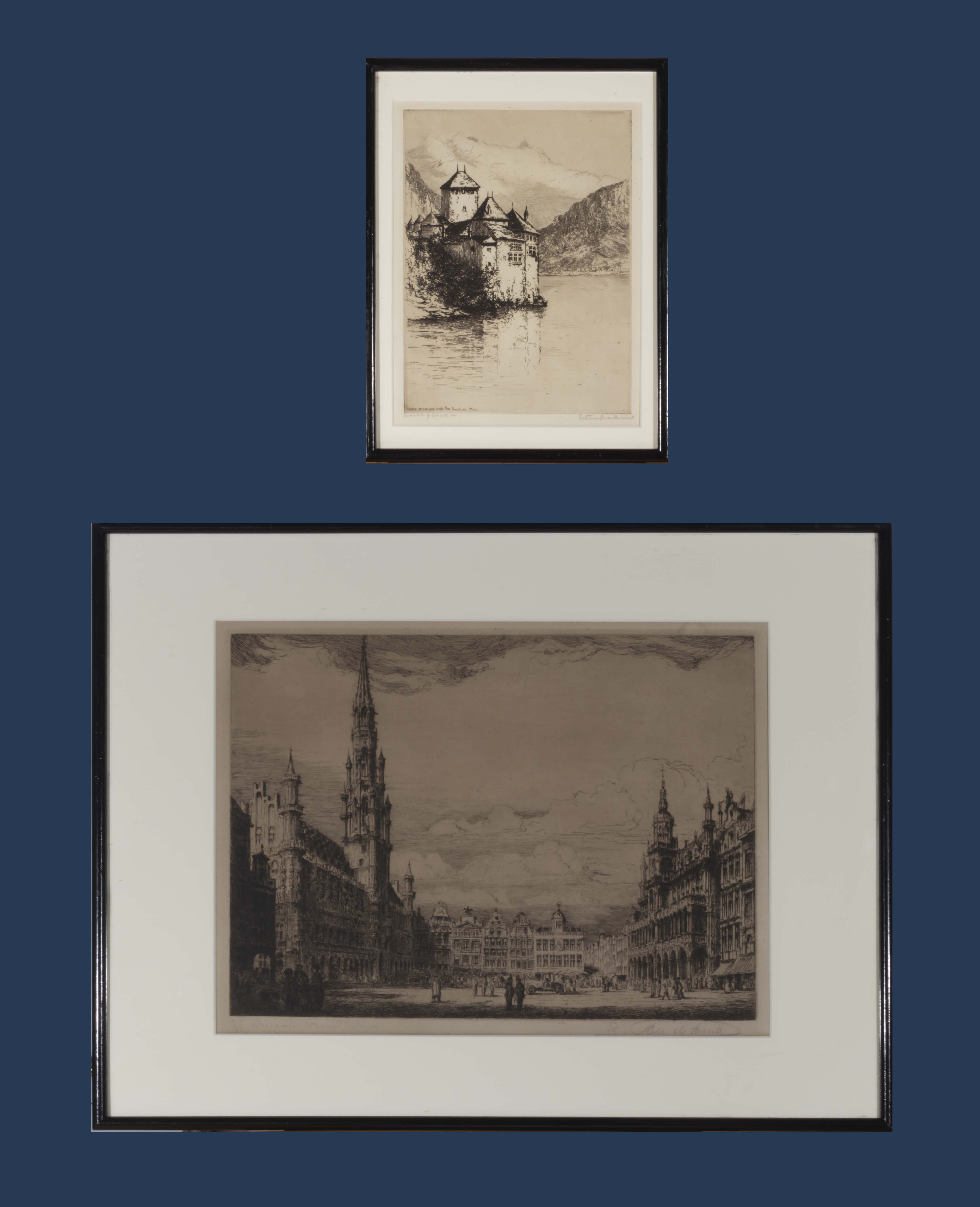 Lot 40 - Two framed etchings 'Castle of Chillon' Peter Graham and 'Brussels Grande Place'