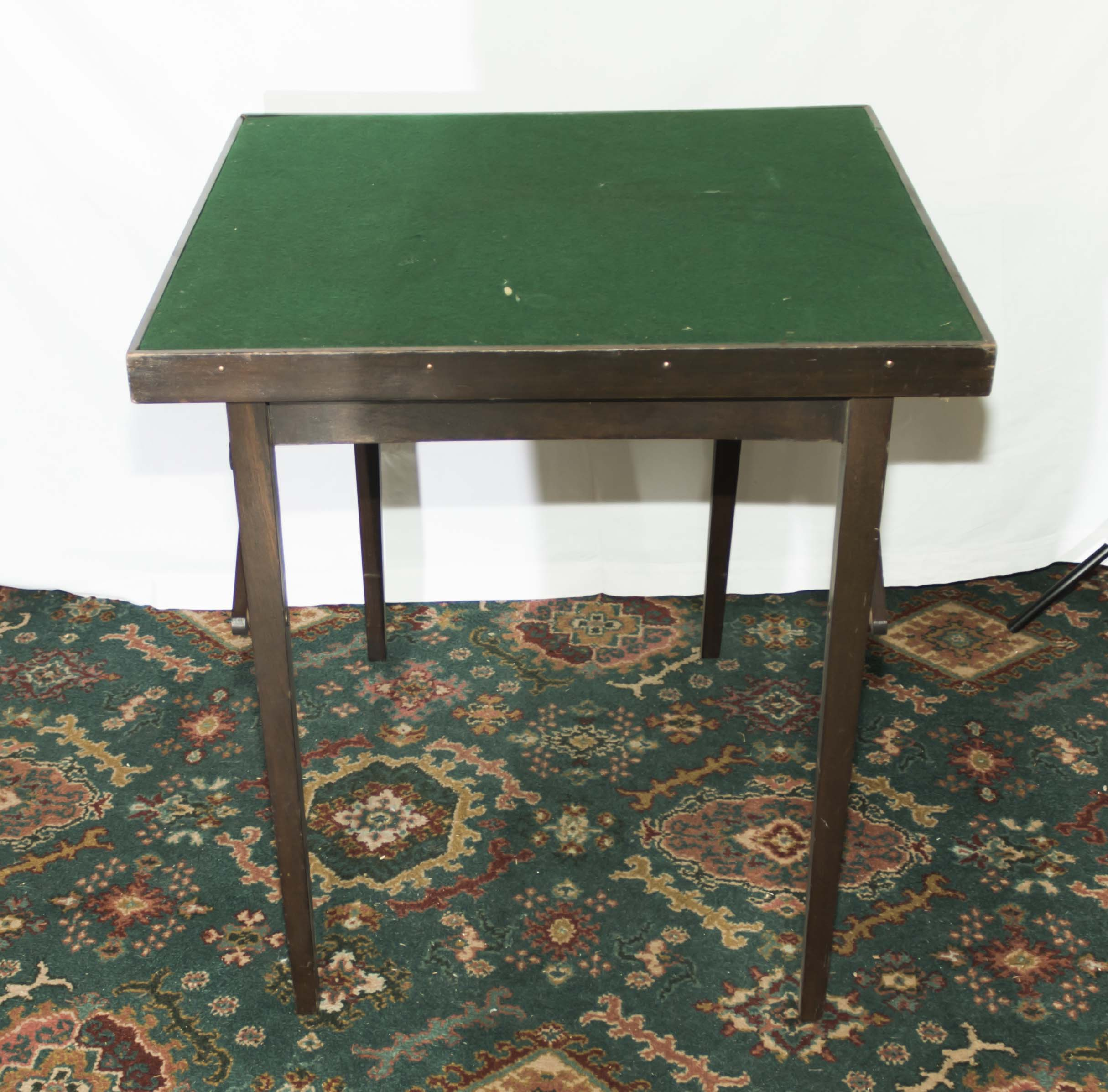 Lot 32 - A folding card table