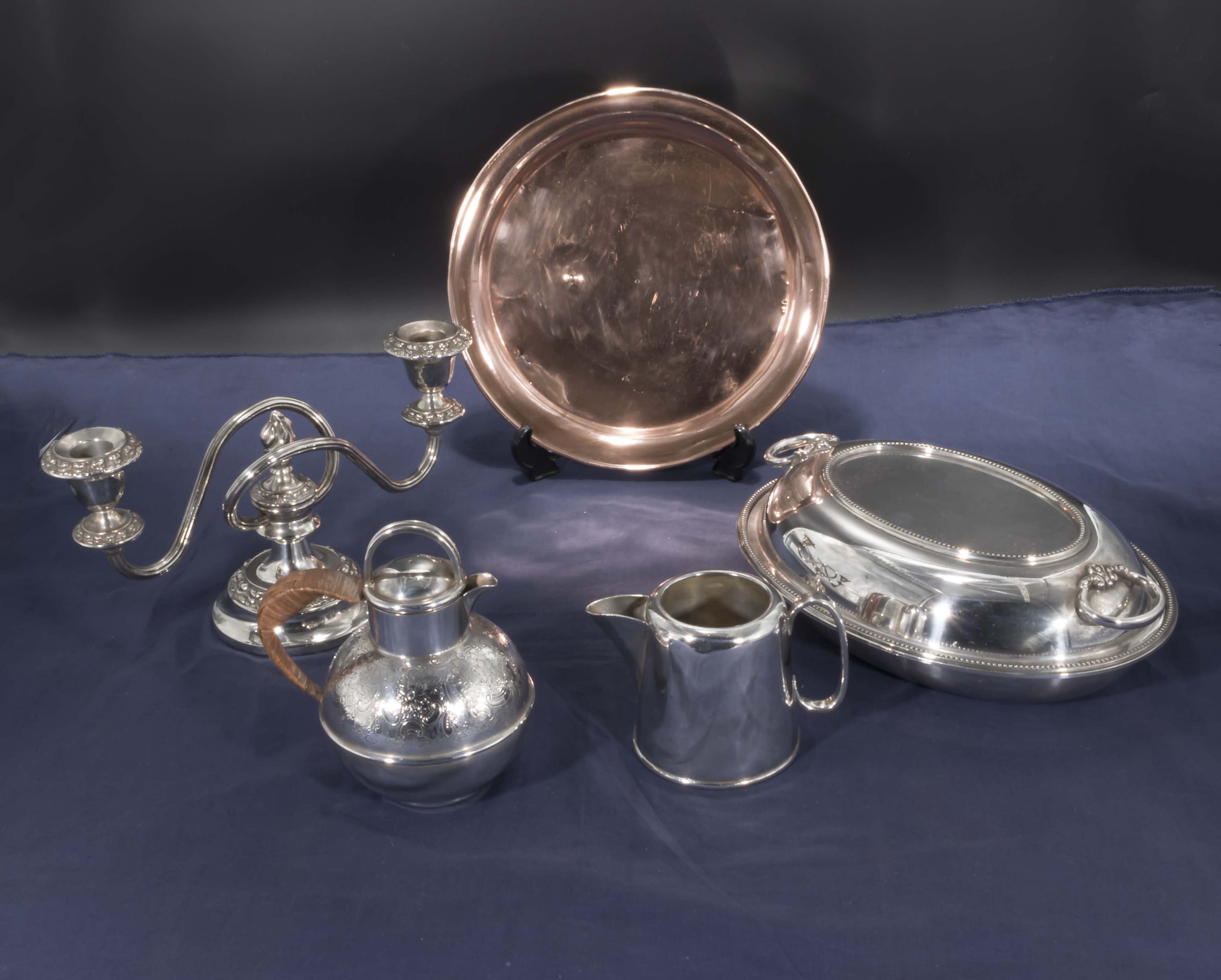 Lot 23 - A silver plated tureen, candlestick and other items