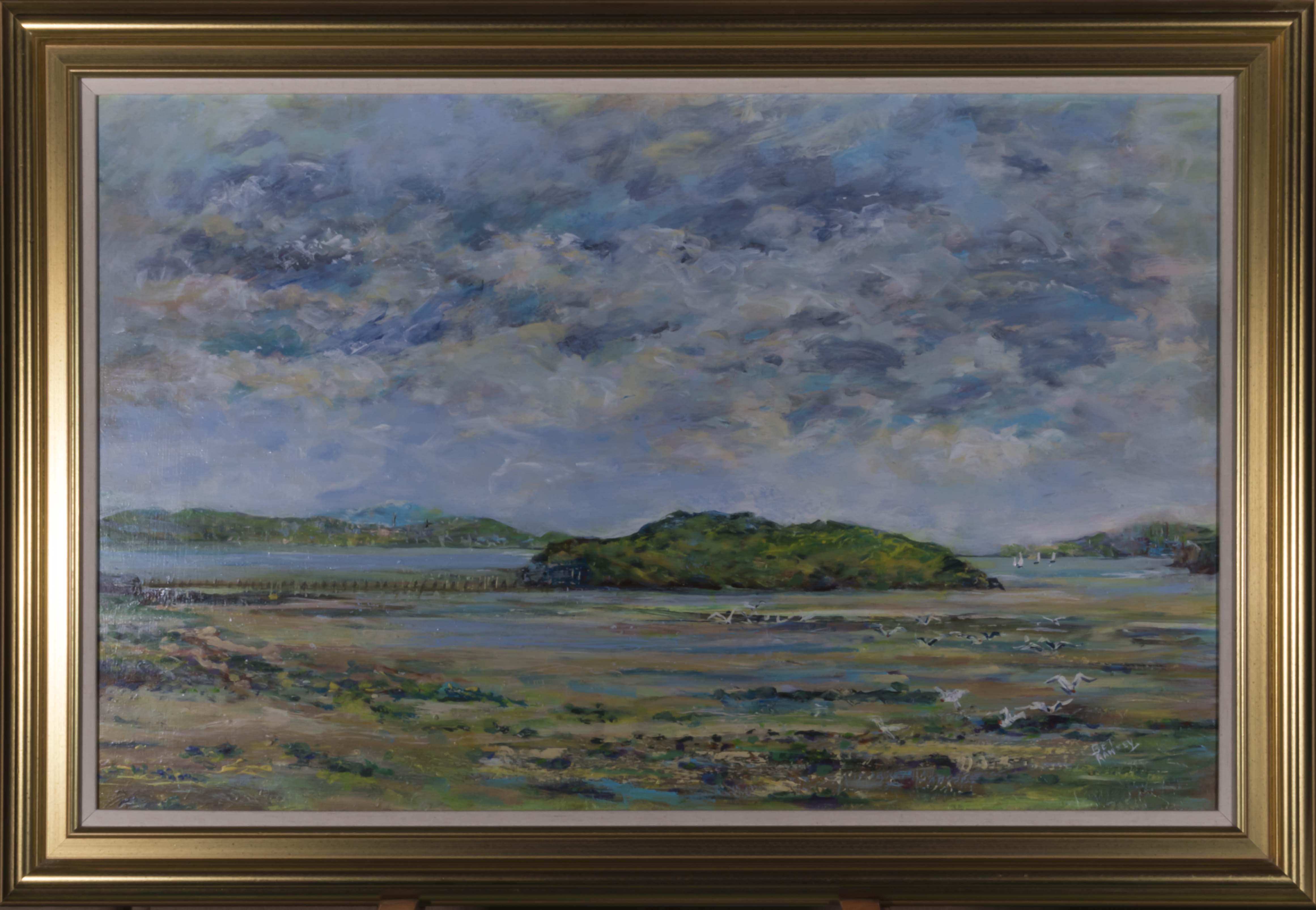 Lot 43 - A framed oil on board depicting a coastal scene, signed Bet Ramsey, image size 45cm x 70cm