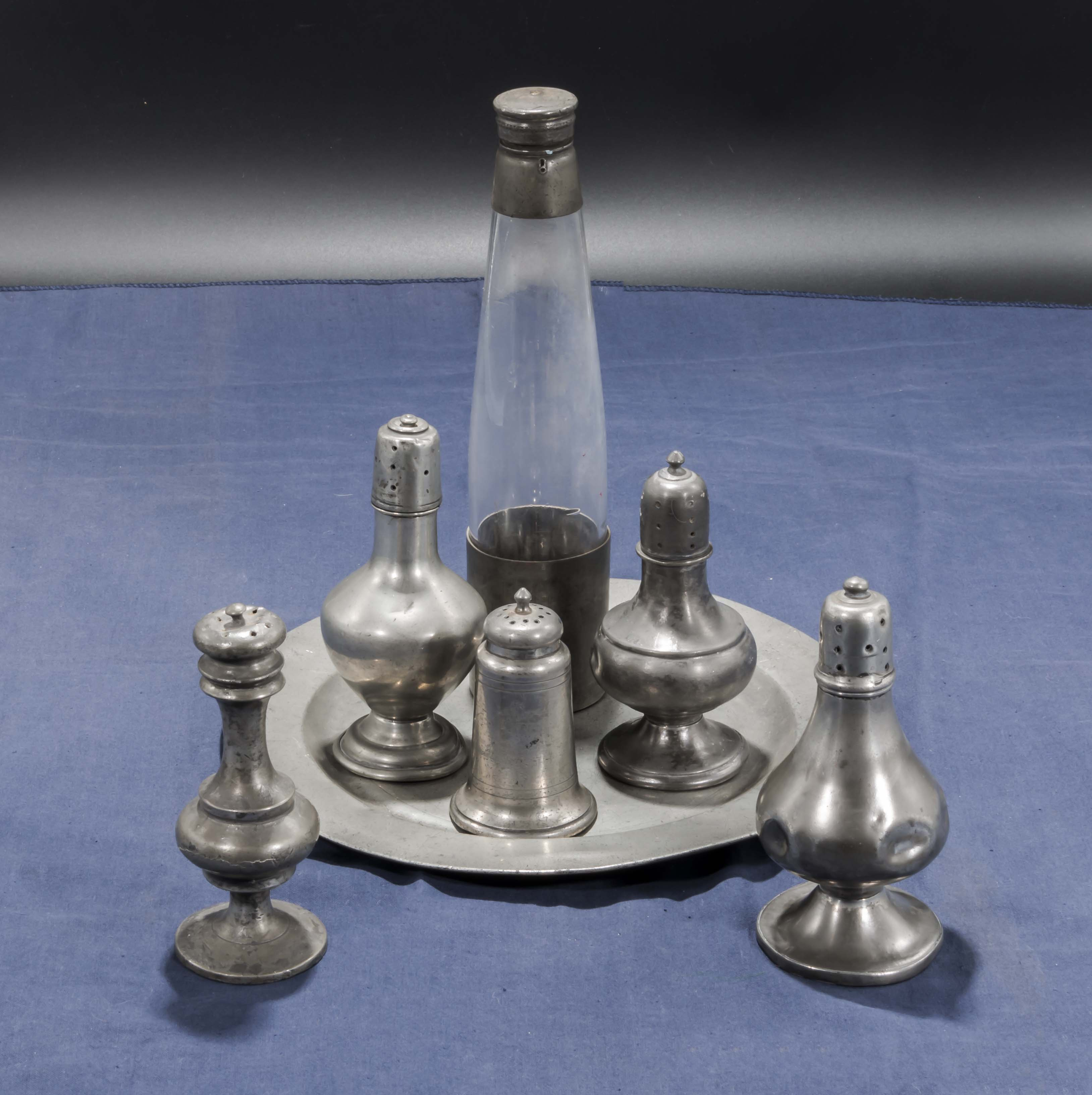 Lot 24 - Assorted old Pewter condiments on plate
