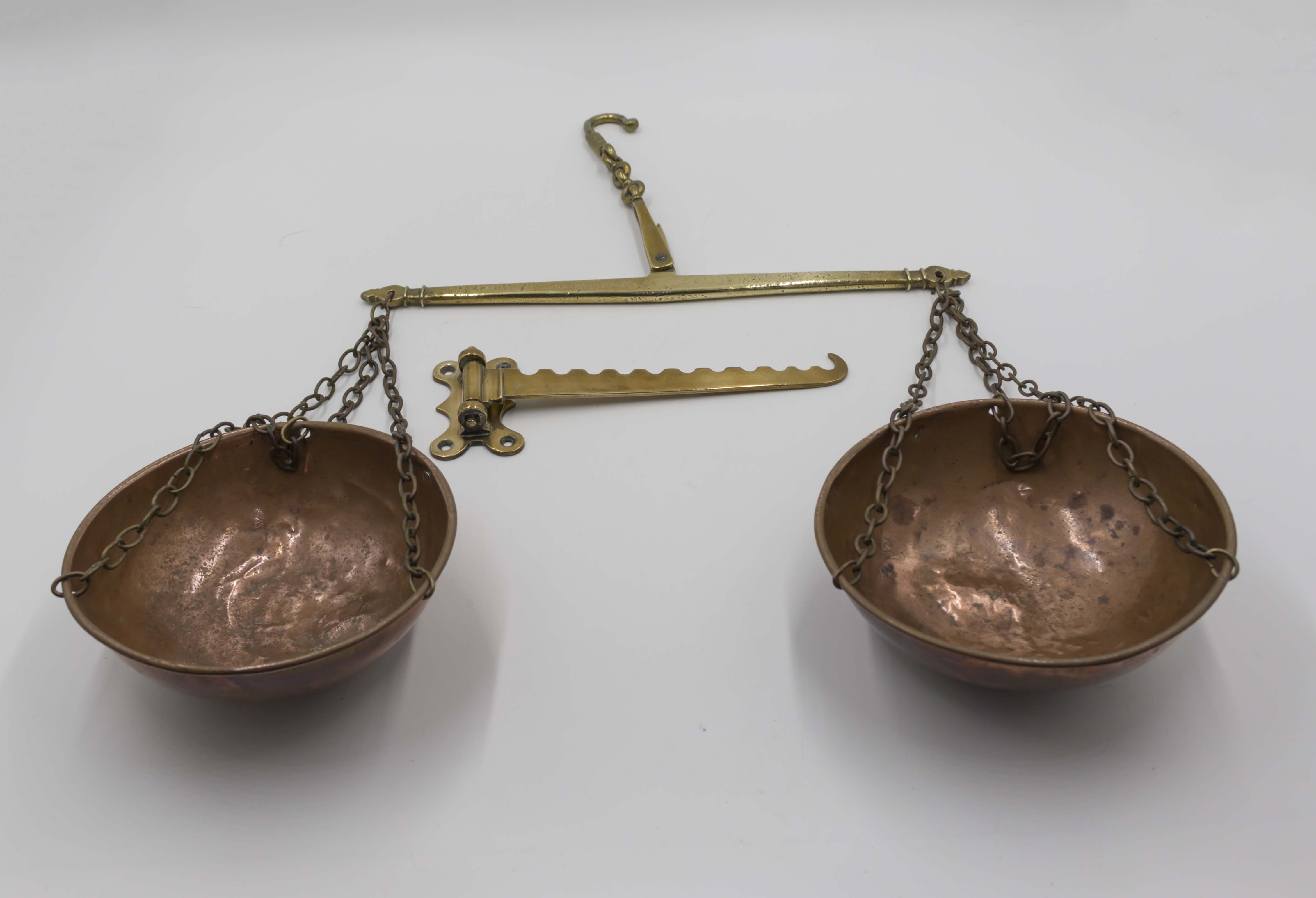 Lot 7 - A pair of vintage copper and brass scales