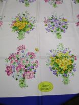 "Lot 4 - A vintage Gucci silk scarf, 35"" x 34"" depicting bouquets of wild flowers"