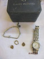 Lot 57 - A modern Claude Valentini gents stainless steel watch, a Disney child's bracelet, a necklace and