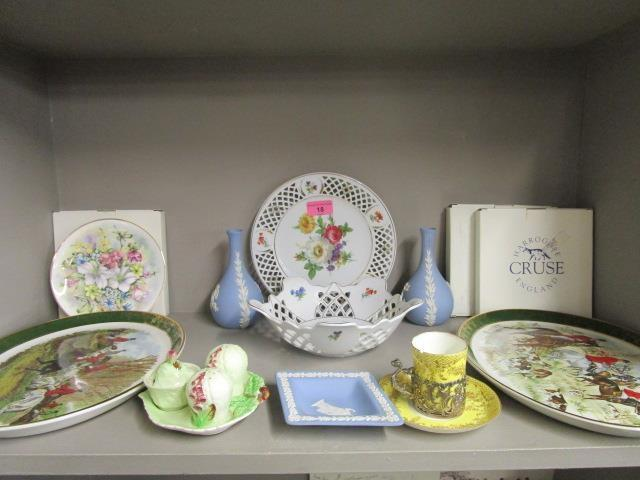 Lot 18 - A pair of Weatherly Royal Falcon hunting scene plates, a Wedgwood blue Jasperware dish and a pair of