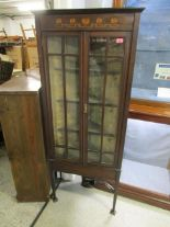 "Lot 35 - An Art Nouveau inlaid mahogany corner cabinet on square tapering legs with spade feet, 64 2/8"" x 26"""