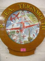 Lot 1 - An RAFA Teignmouth Red Arrows pictorial plate, mounted in an oak frame inscribed in gilt letters