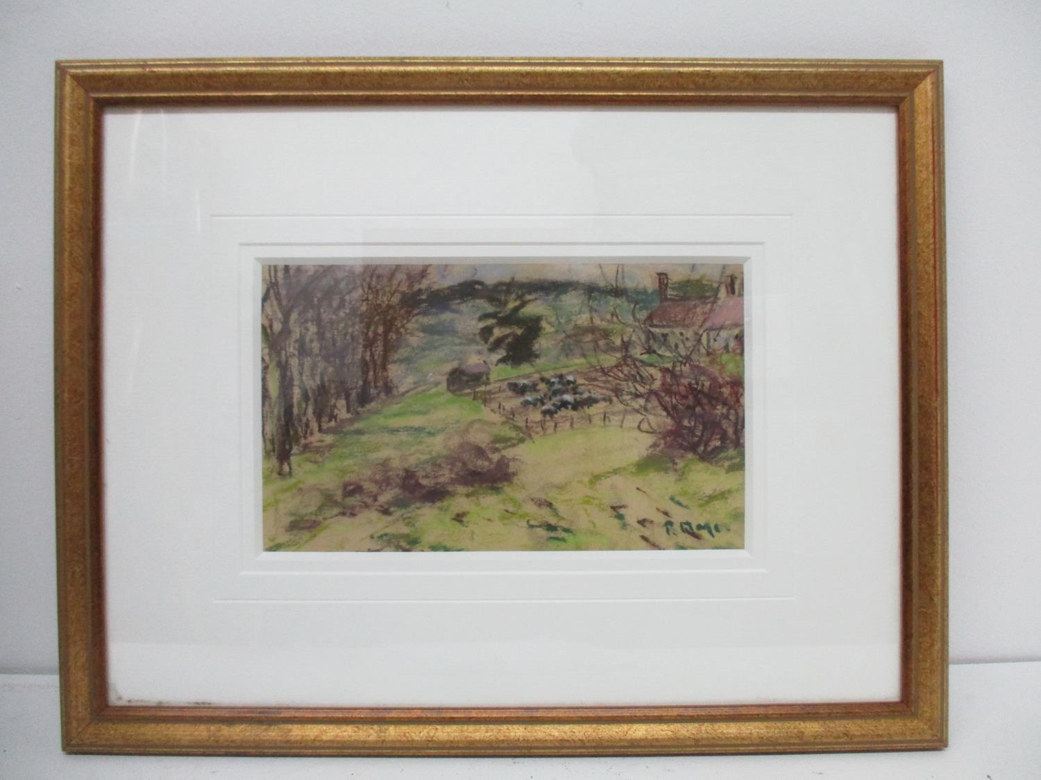 Lot 274 - Paul Lucien Maze 1887-1979, a country scene with animals in a pen, trees and houses, pastel, 5 3/