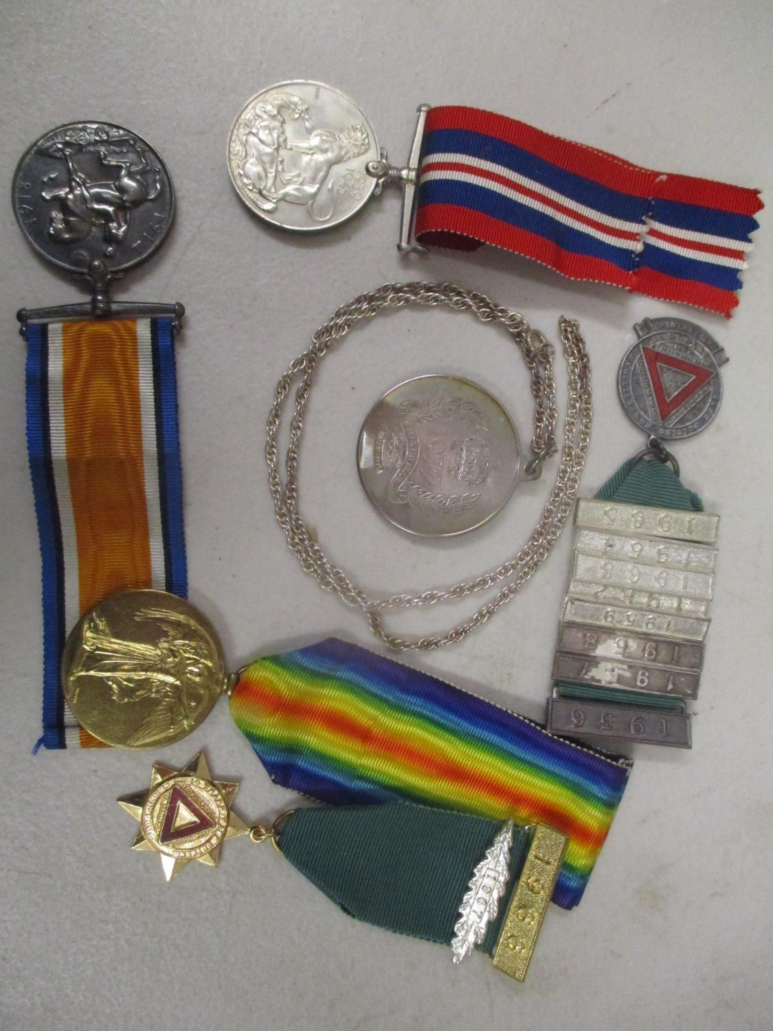 Lot 20 - Collectables to include a silver commemorative medallion and chain 43g, WWI and II medals,