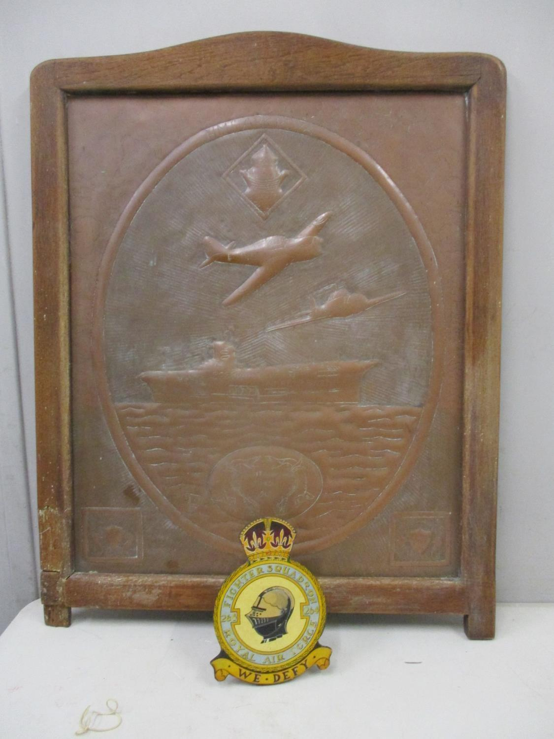 Lot 137 - A WWII copper panel HMS Ark Royal, Mediterranean March 1940, embossed with two planes and a ship, in