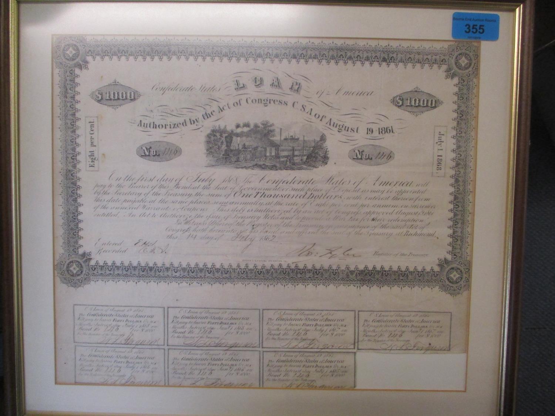 Lot 273 - A confederate share certificate