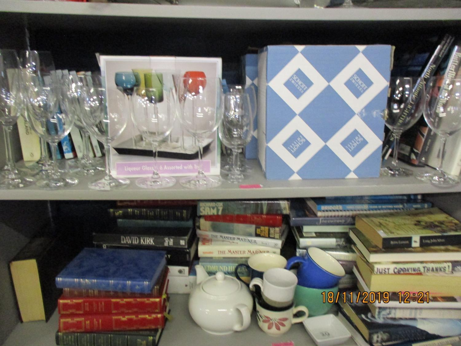 Lot 383 - Royal Worcester Evensham and kitchen ceramic tableware, mixed books, boxed modern glassware and a