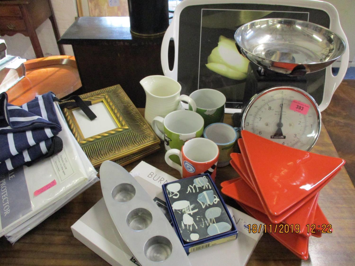 Lot 393 - A set of modern Typhoon kitchen scales and contemporary ceramics, John Lewis pillowcase, a pair of