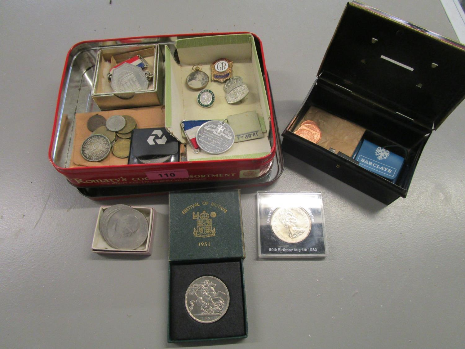 Lot 110 - A selection of coins, badges and commemorative medals