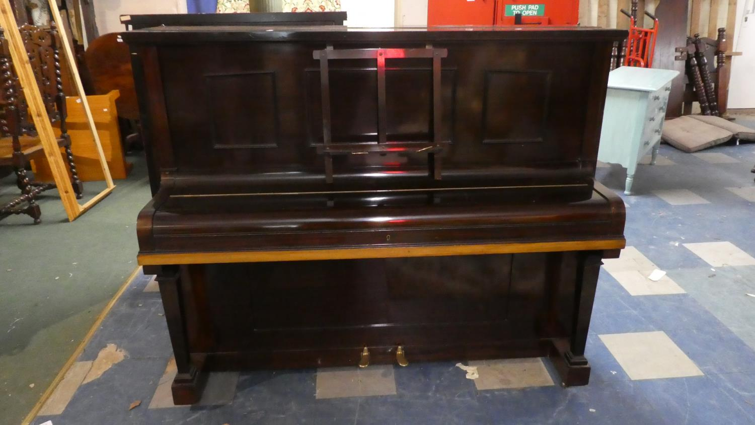 Lot 388 - An Edwardian Mahogany Cased Upright Iron Framed Piano, George Ward Retailed by Murdoch & co.