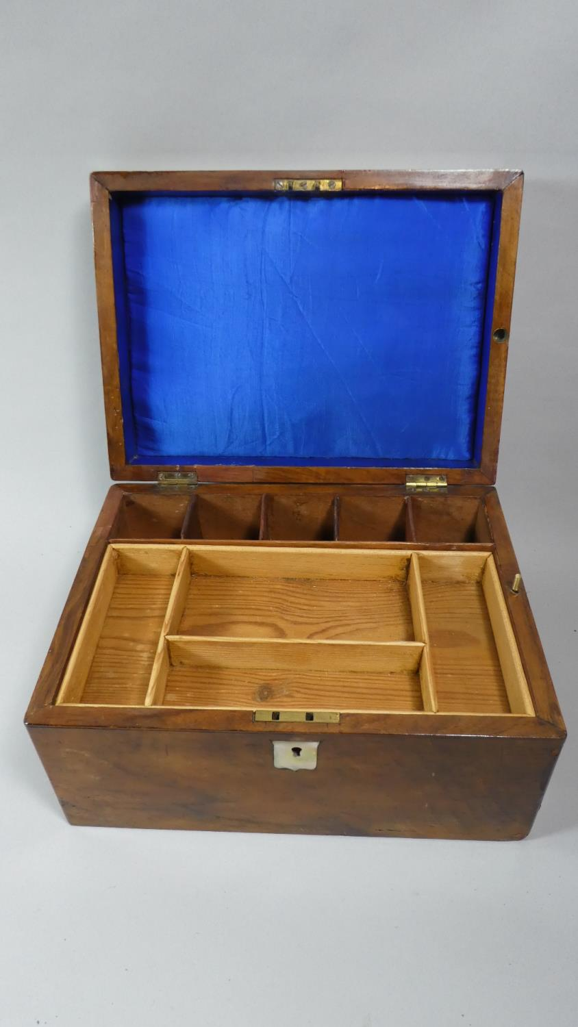 Lot 11 - A 19th Century Walnut Work Box with Removable Tray and Fitted Interior Secret Side Drawer, Mother of