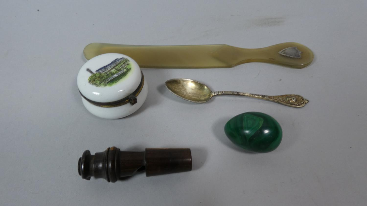 Lot 119 - A Small Collection of Curios to Include Whistle, Malachite Egg, Horn Page Turner with Silver