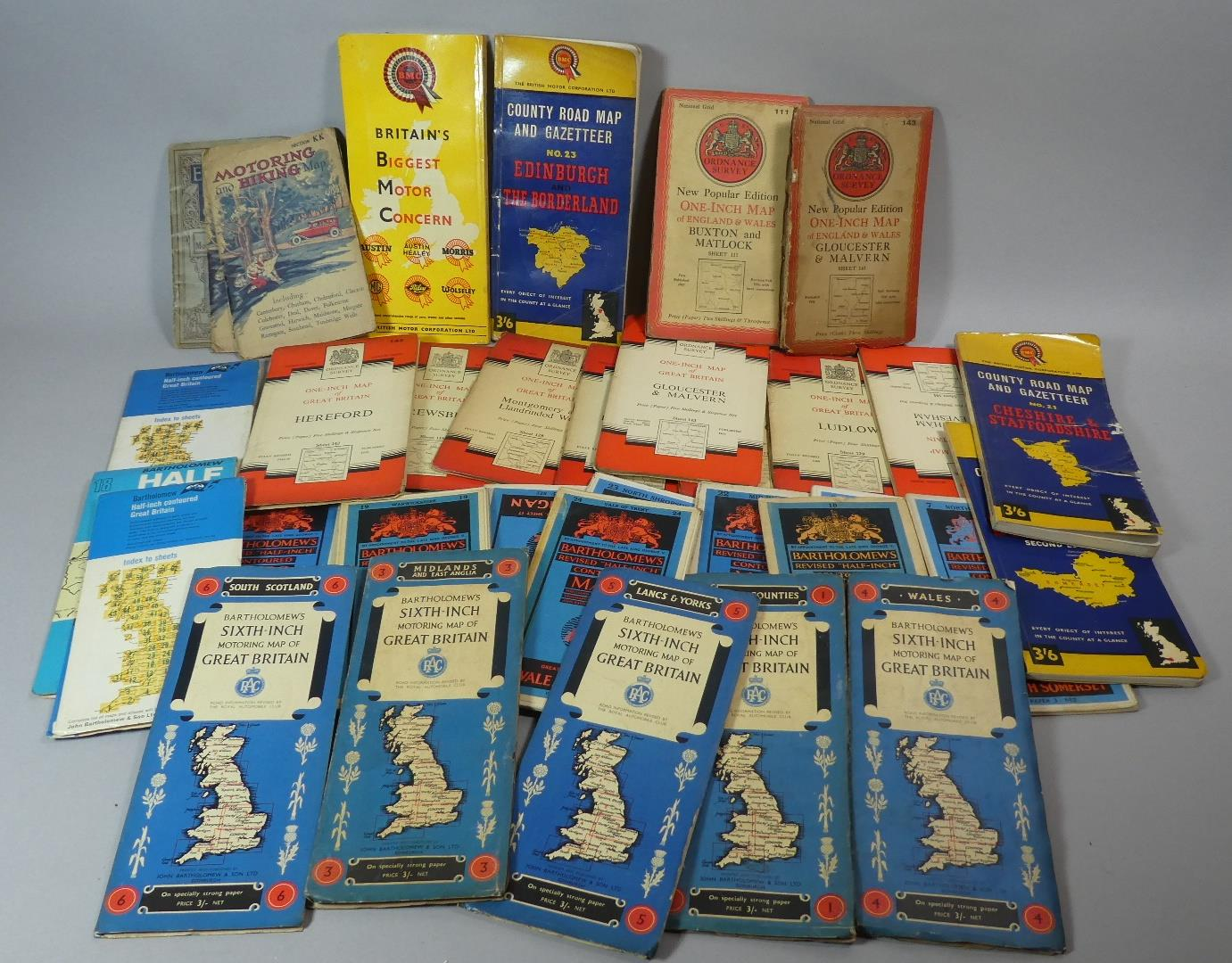 Lot 98 - A Collection of Various Vintage Road Maps, Ordnance Maps Etc