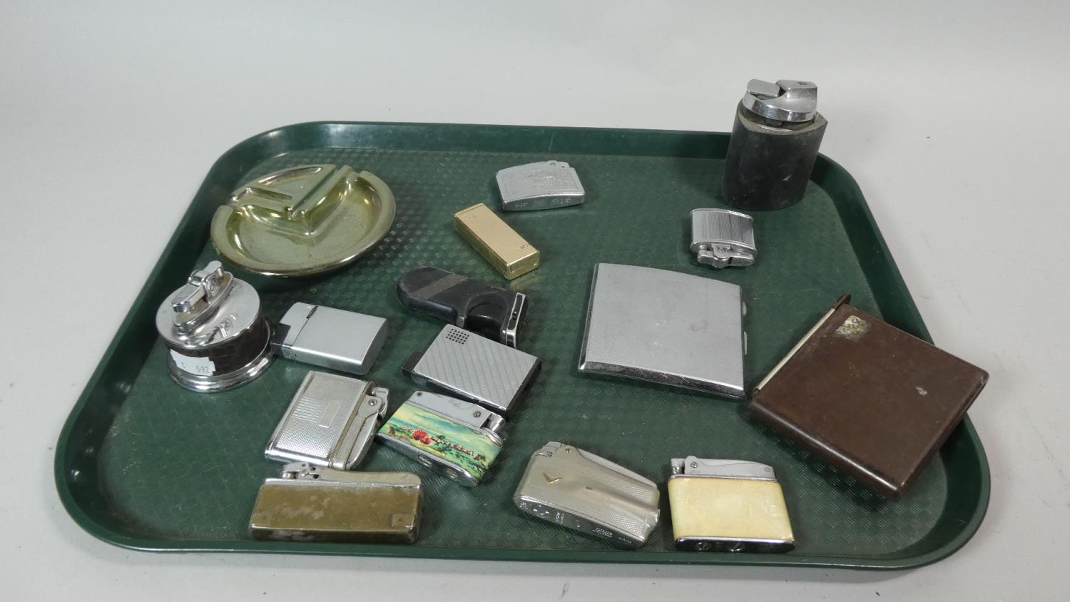 Lot 124 - A Tray Containing Various Cigarette Lighters and Enamelled Ashtray etc