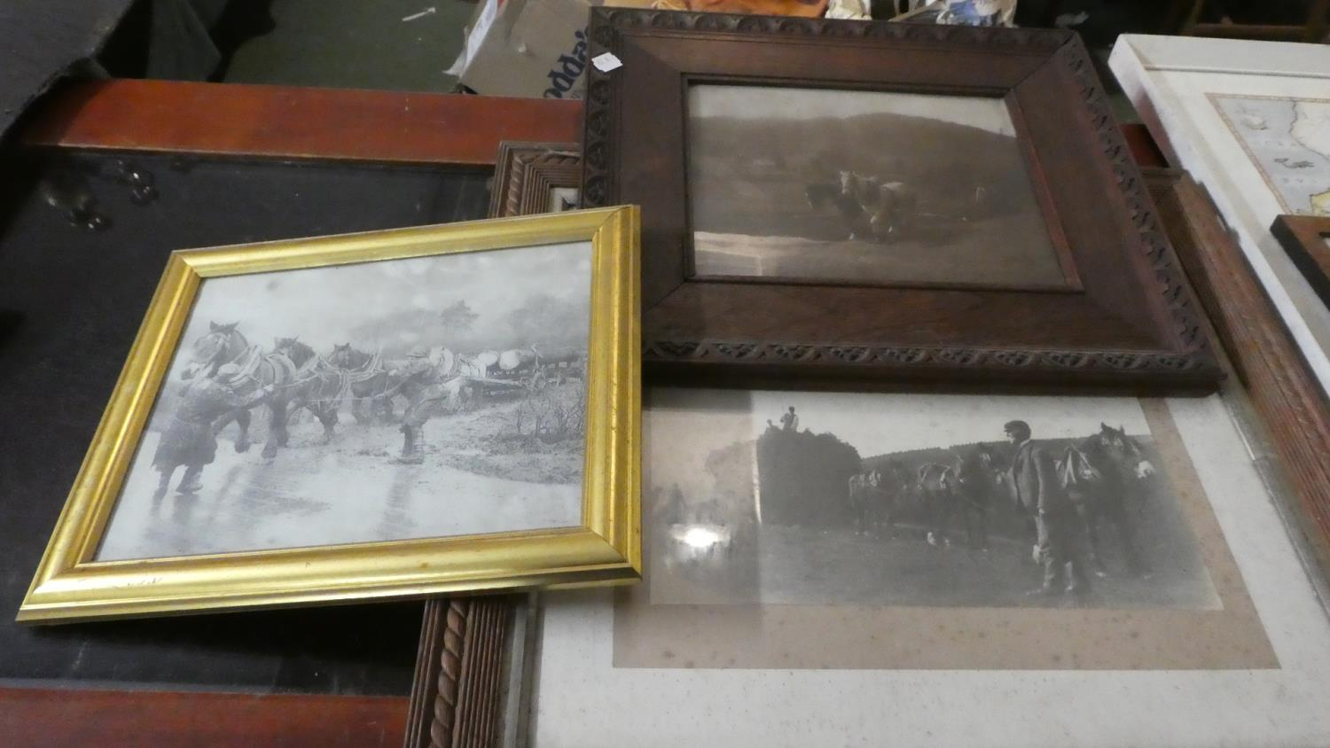 Lot 285 - A Set of Three Framed Photographs, Heavy Horses at Work