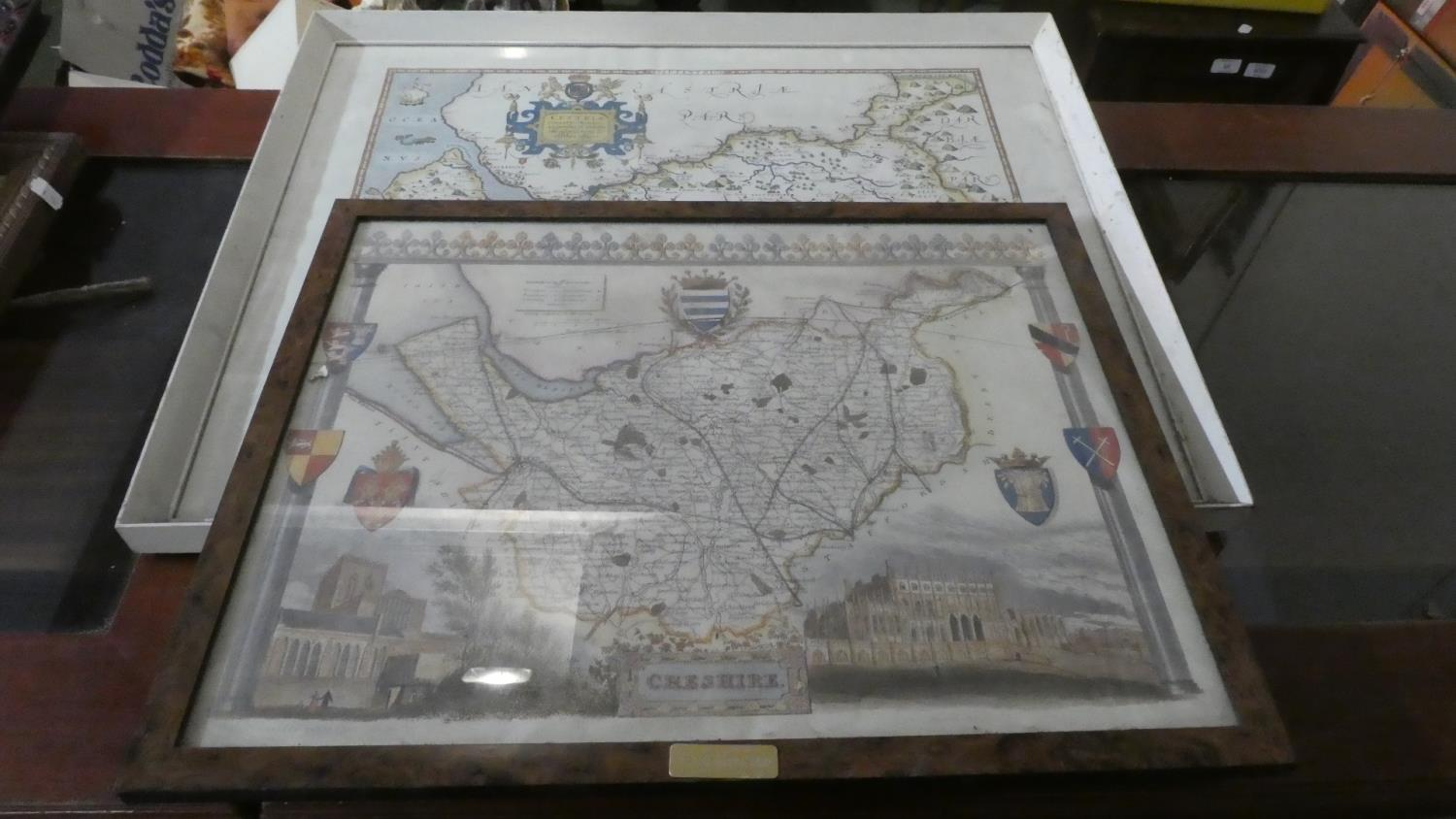 Lot 286 - A Framed British Museum Copy of Saxton's Map of Cheshire 1577 and a Similar Print